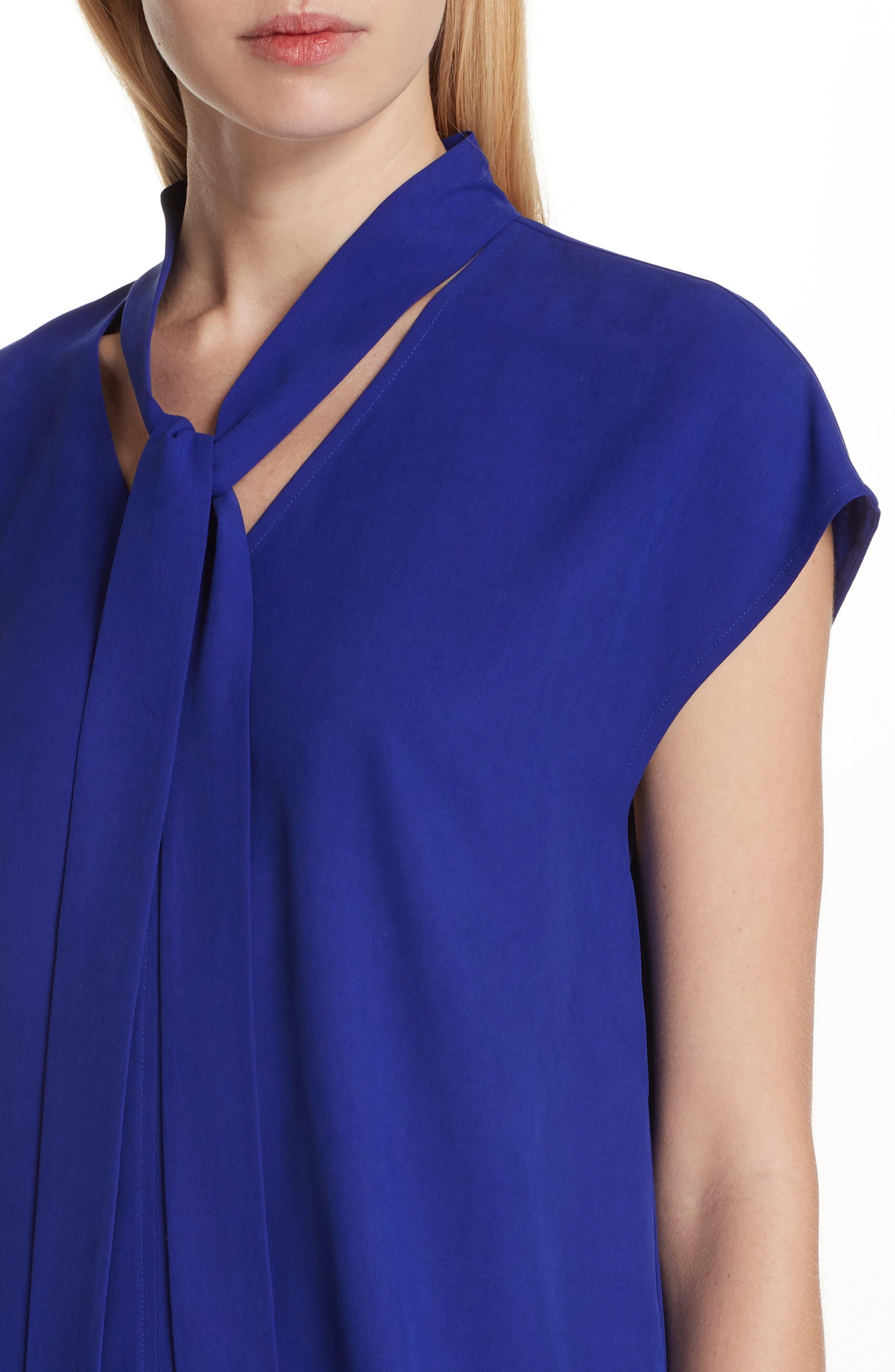 Tie Neck Silk Top,                             Alternate thumbnail 4, color,                             Blue Violet