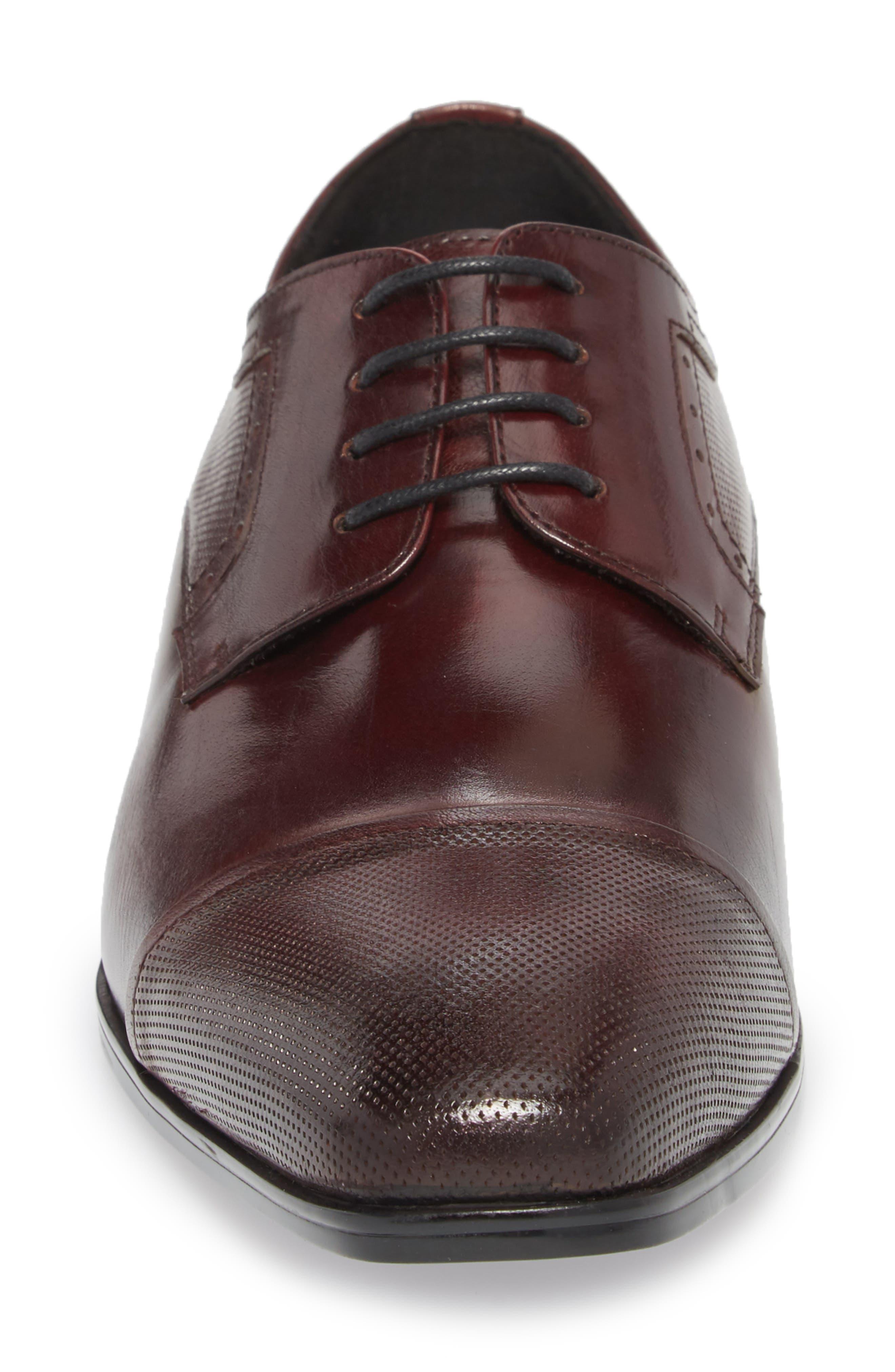 Embossed Cap Toe Derby,                             Alternate thumbnail 4, color,                             Bordeaux Leather