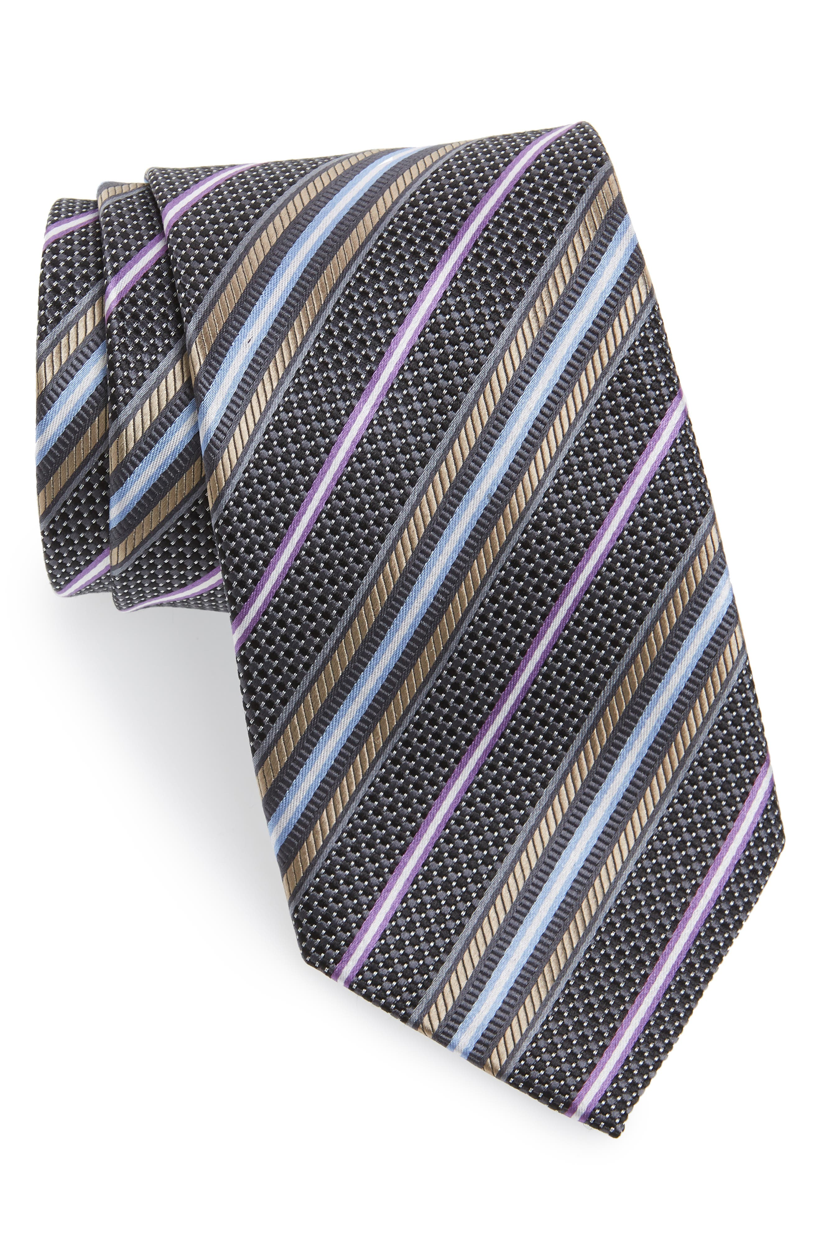 Stripe Silk Tie,                         Main,                         color, Black