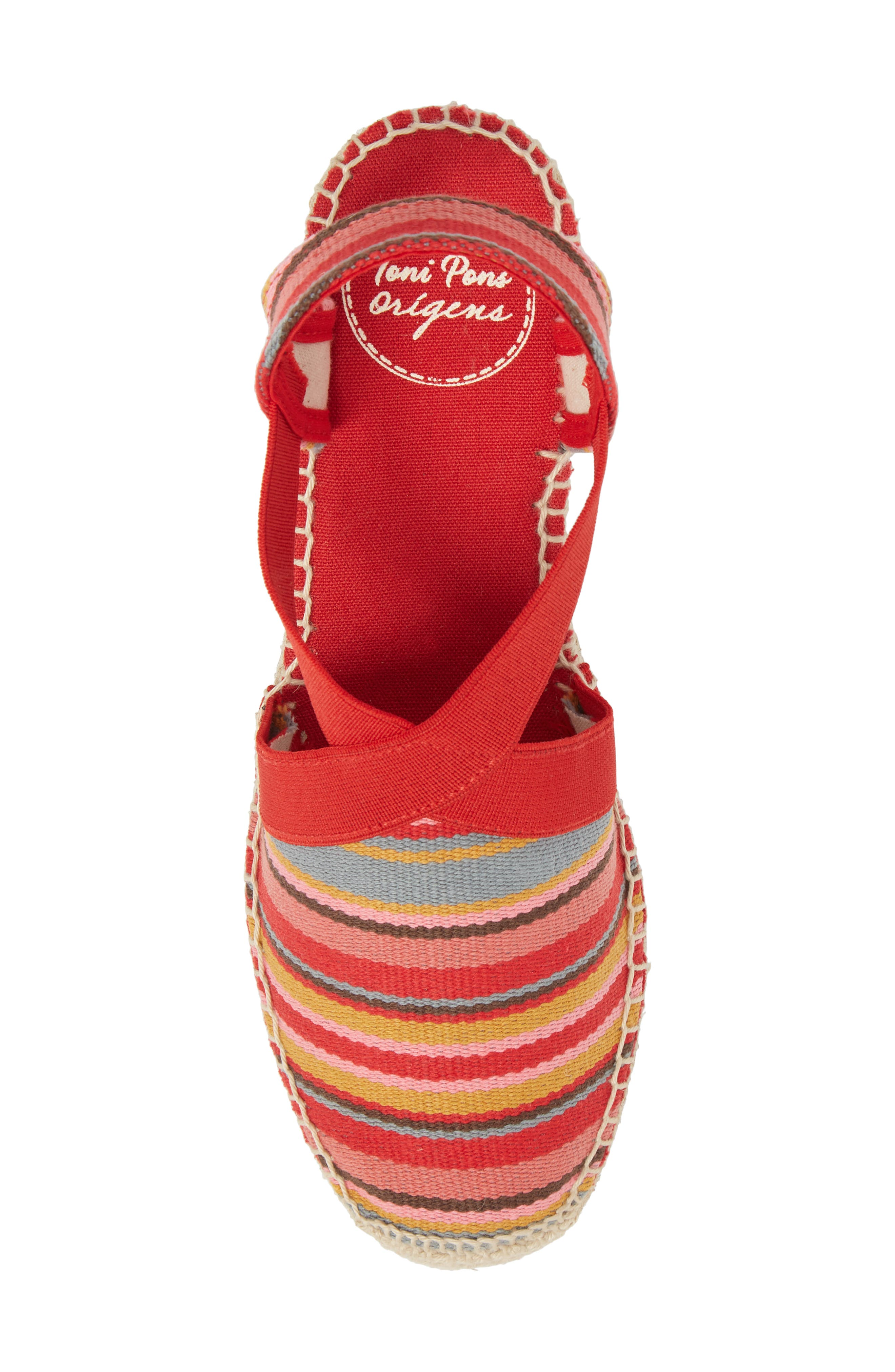 'Tarbes' Espadrille Wedge Sandal,                             Alternate thumbnail 5, color,                             Red Fabric