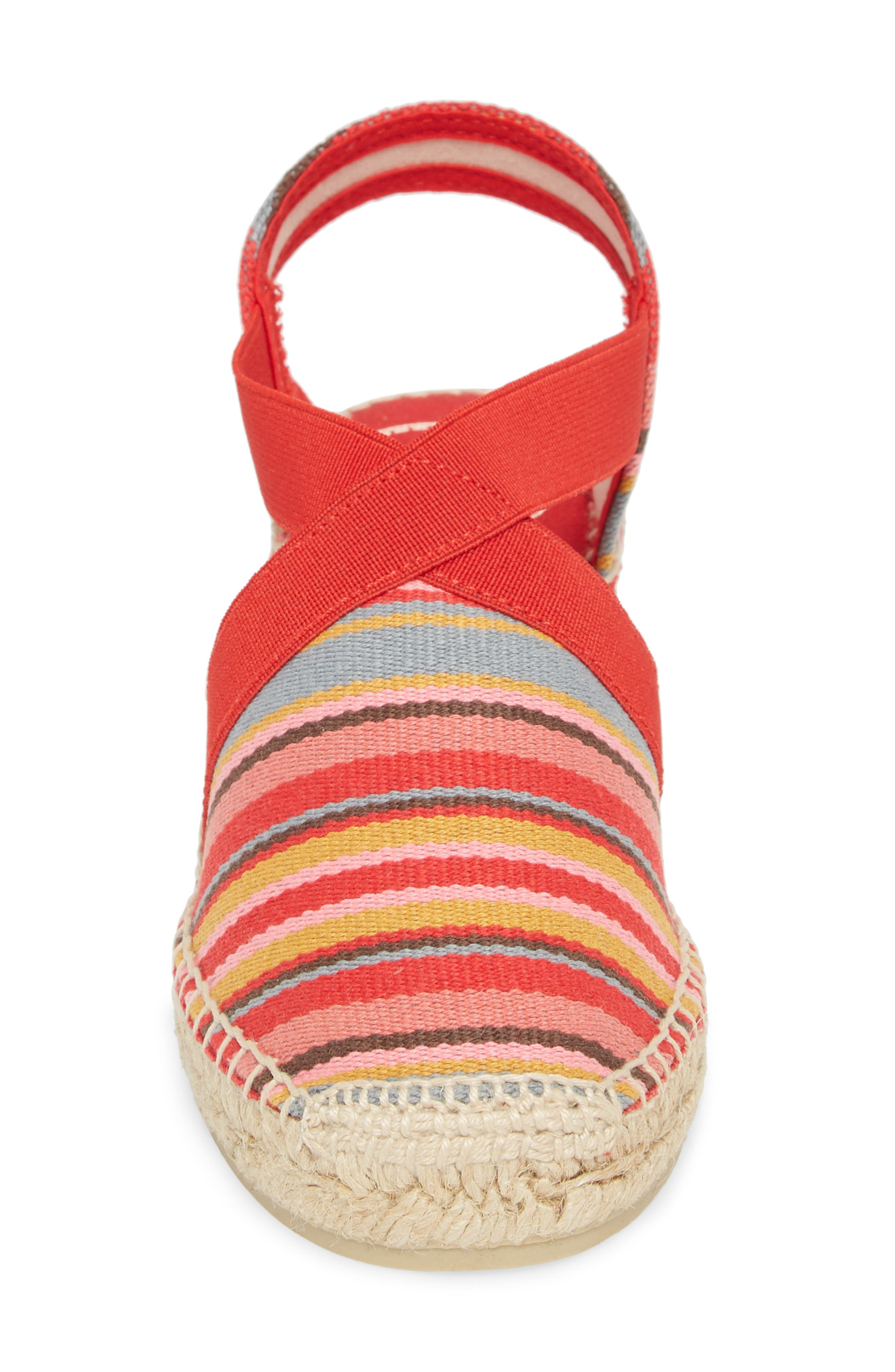 'Tarbes' Espadrille Wedge Sandal,                             Alternate thumbnail 4, color,                             Red Fabric