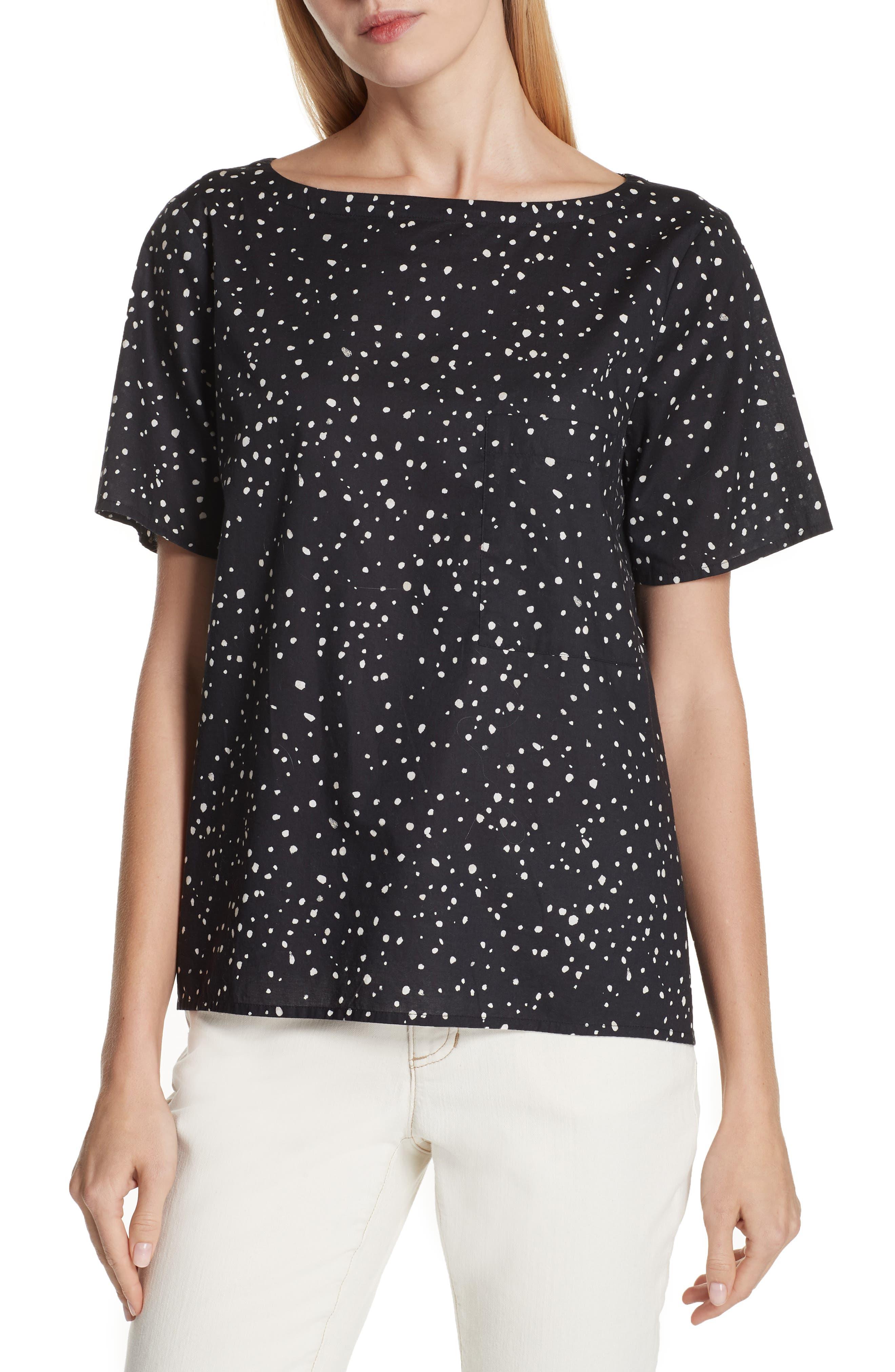 Eileen Fisher Dot Print Organic Cotton Top (Regular & Petite)