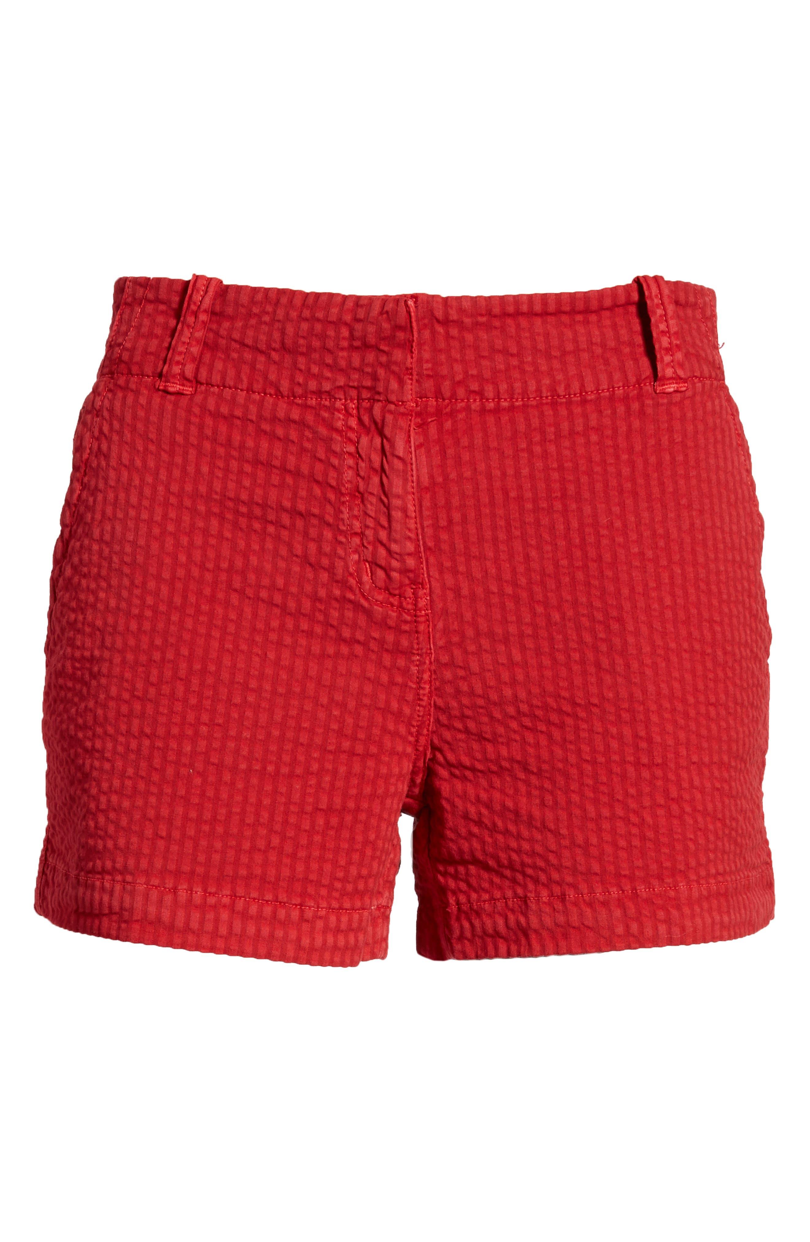 Everyday Seersucker Shorts,                             Alternate thumbnail 6, color,                             Red Velvet