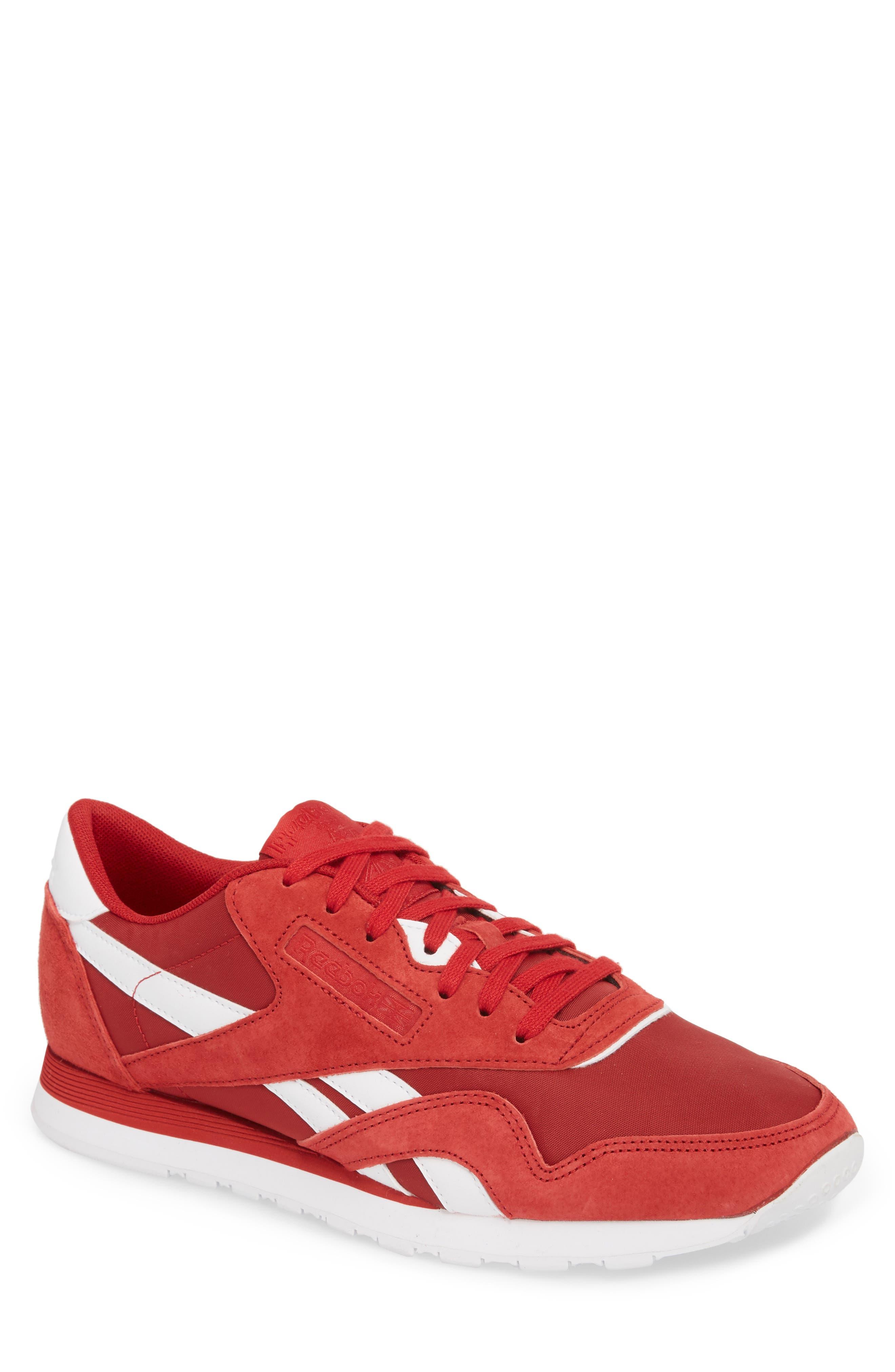 Classic Nylon PN Sneaker,                         Main,                         color, Power Red/ White