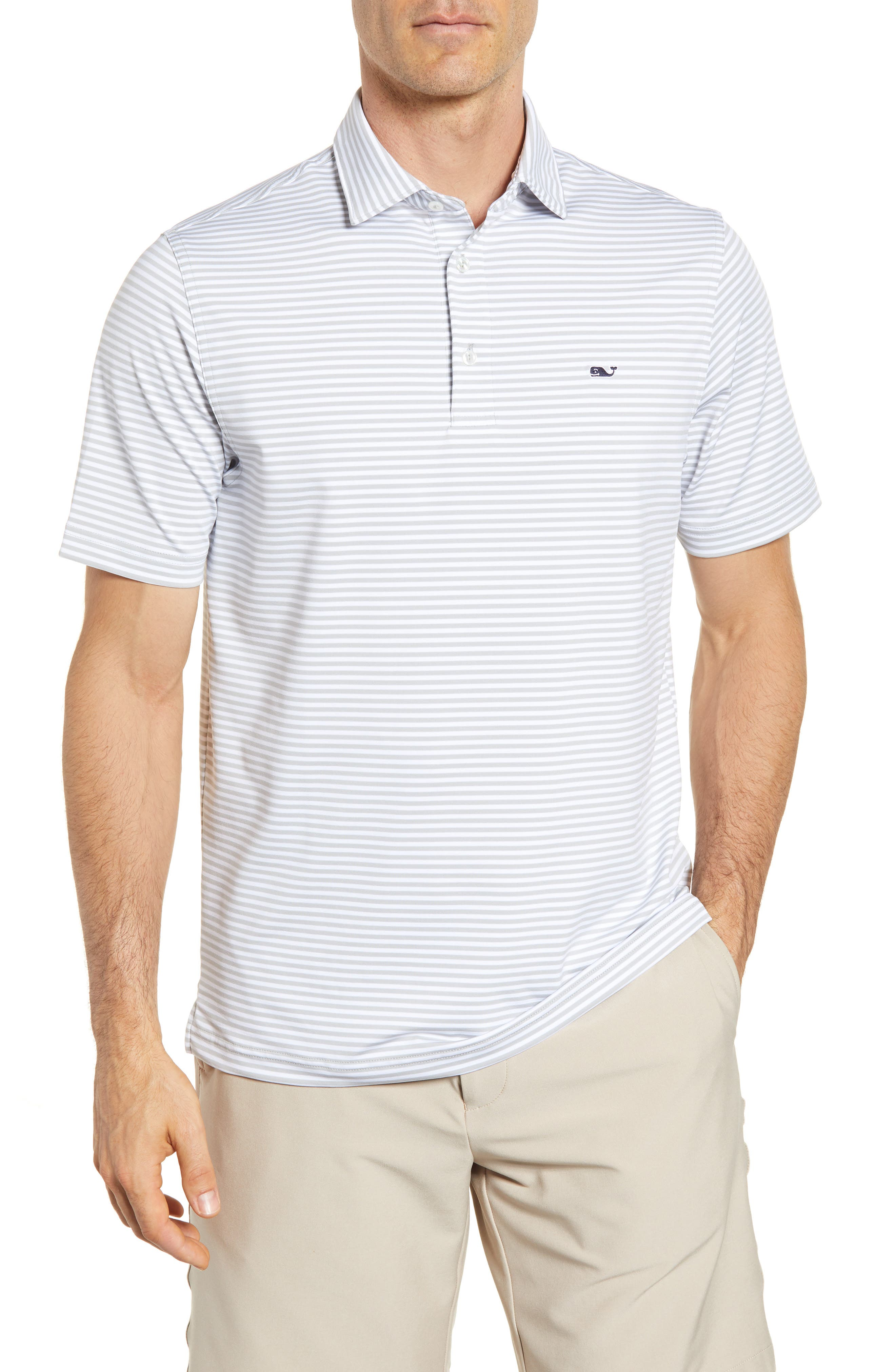 Alternate Image 1 Selected - vineyard vines Color to White Feeder Stripe Polo