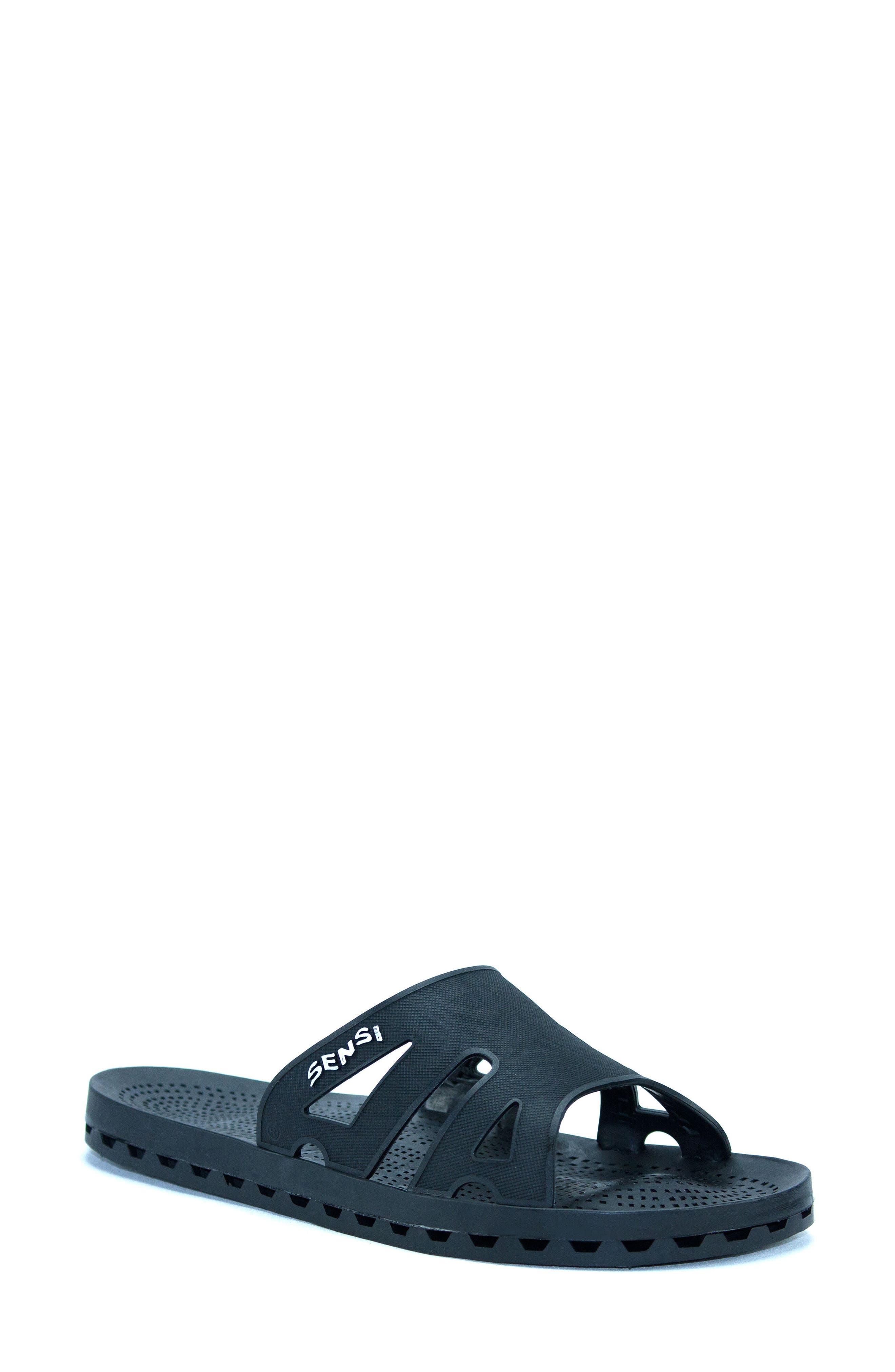 Regatta Slide Sandal,                             Main thumbnail 1, color,                             Solid Black Rubber