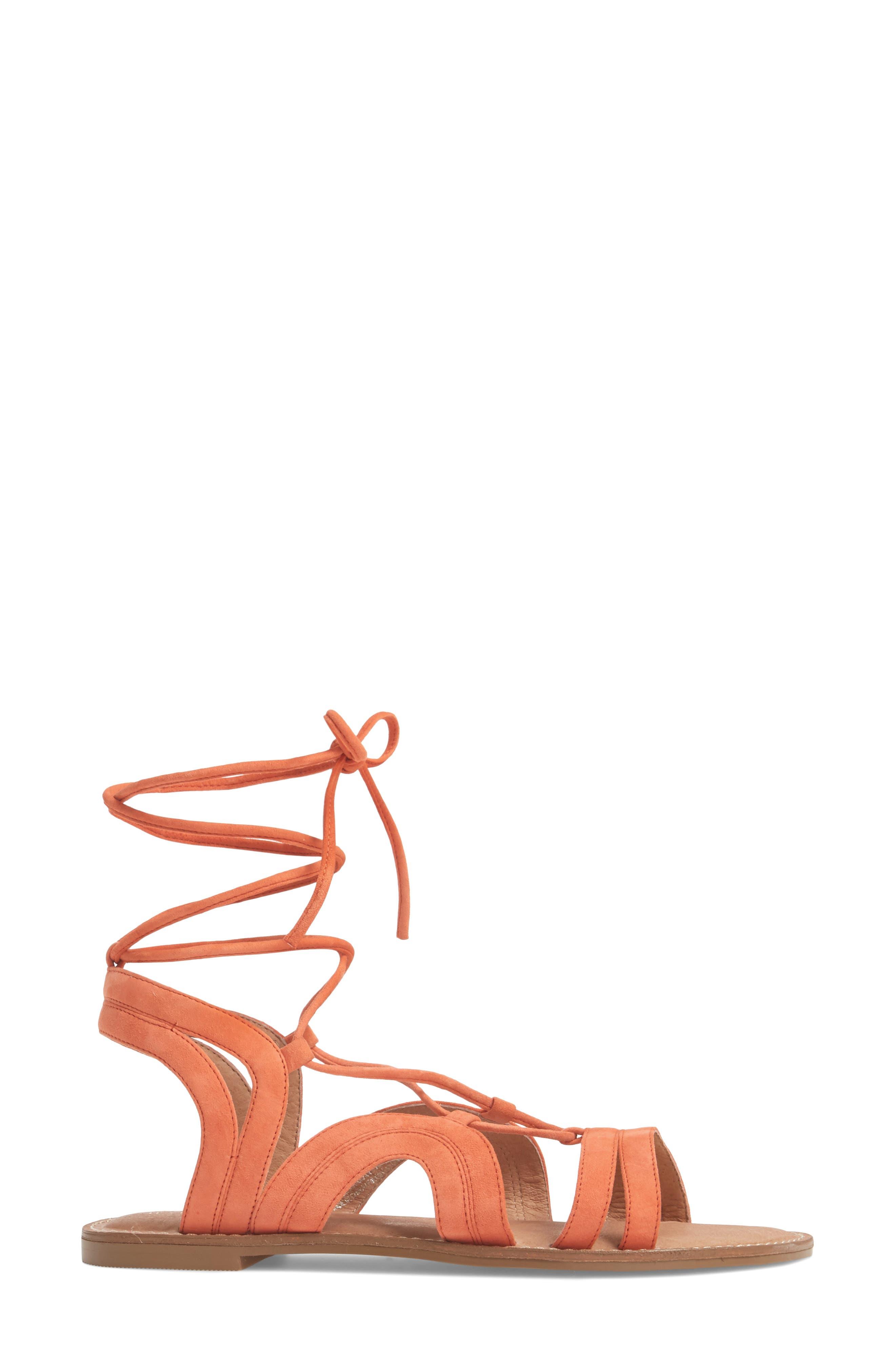 Lilian Gladiator Sandal,                             Alternate thumbnail 3, color,                             Orange Suede