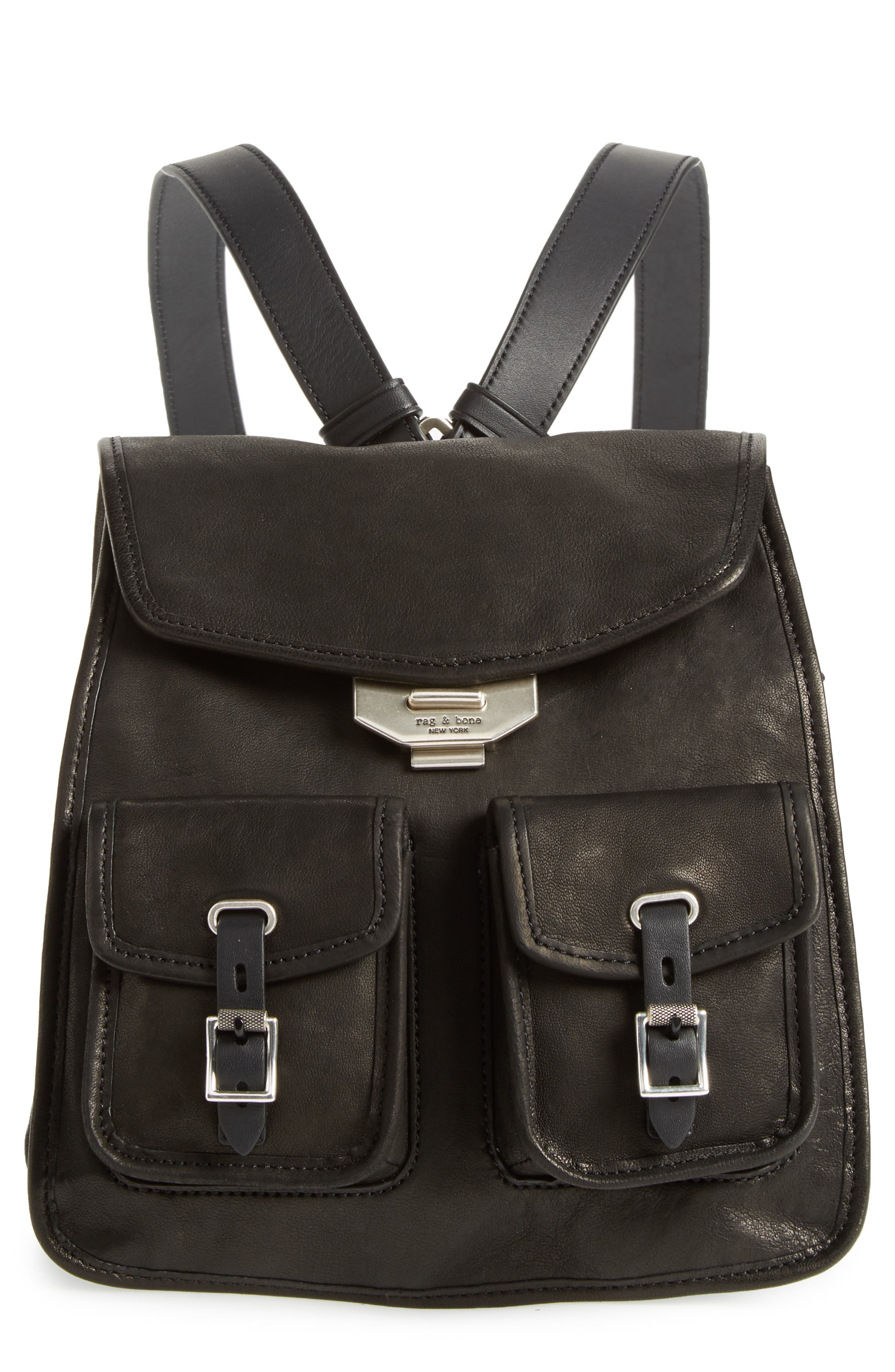 Small Leather Field Backpack,                         Main,                         color, Black