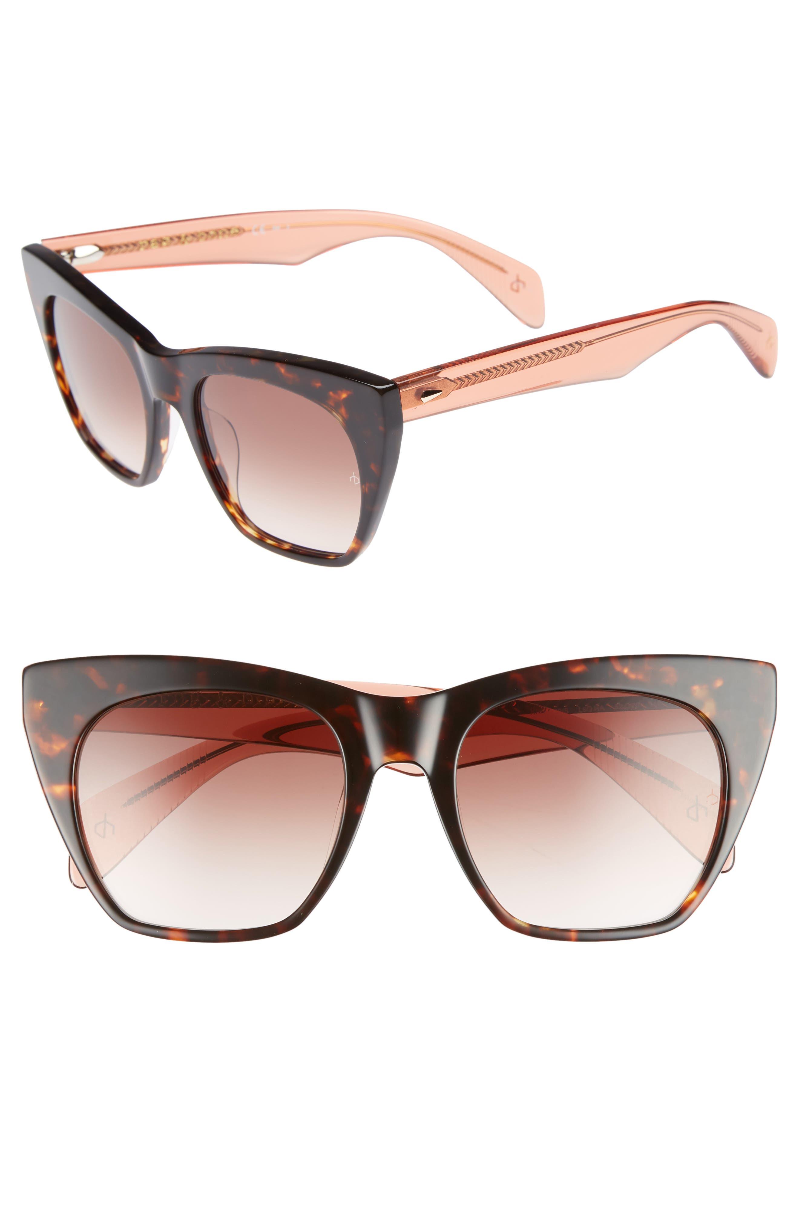 52mm Cat Eye Sunglasses,                             Main thumbnail 1, color,                             Havana Orange