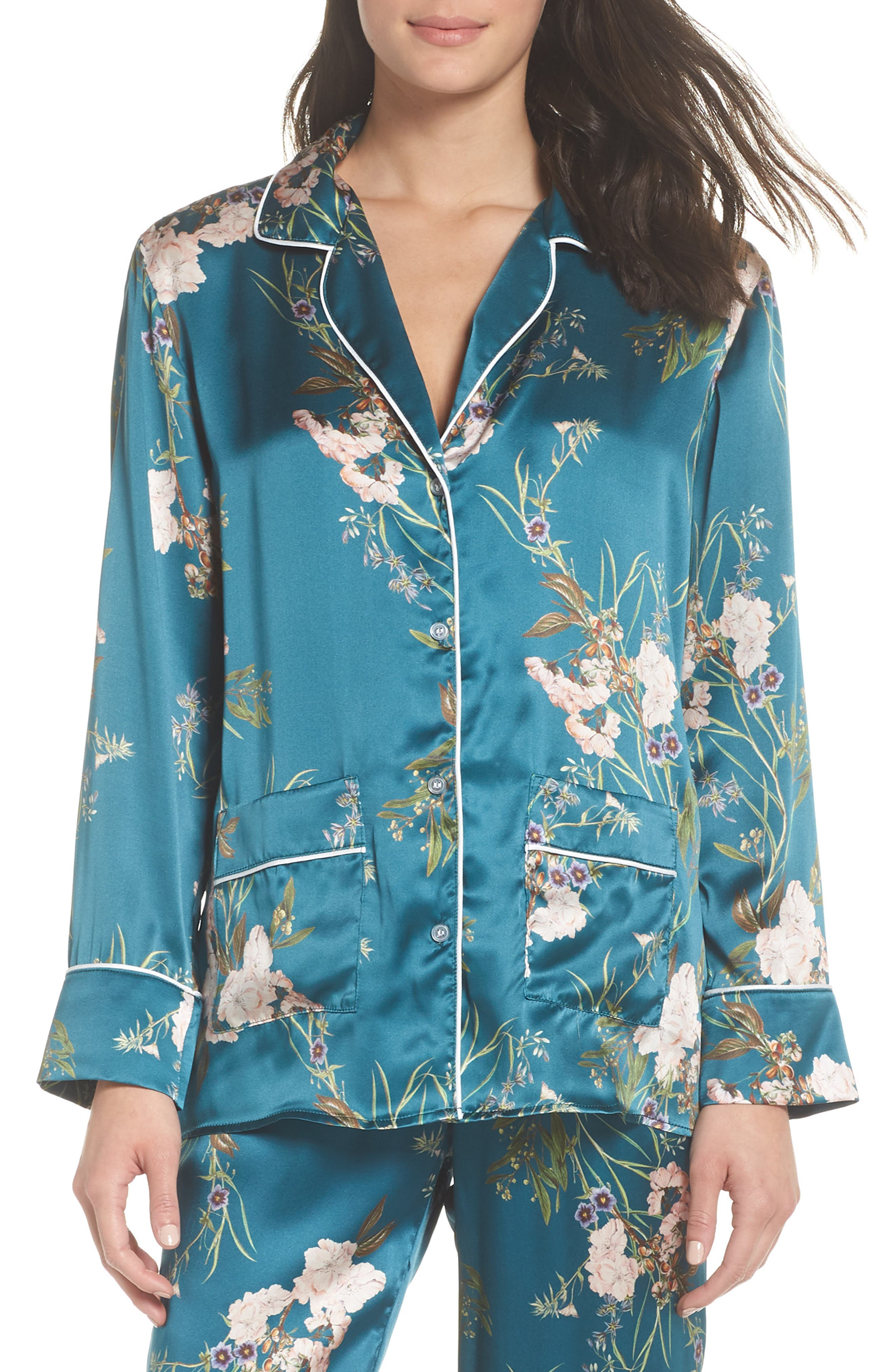 Brigette Silk Pajama Top,                             Main thumbnail 1, color,                             Teal Floral