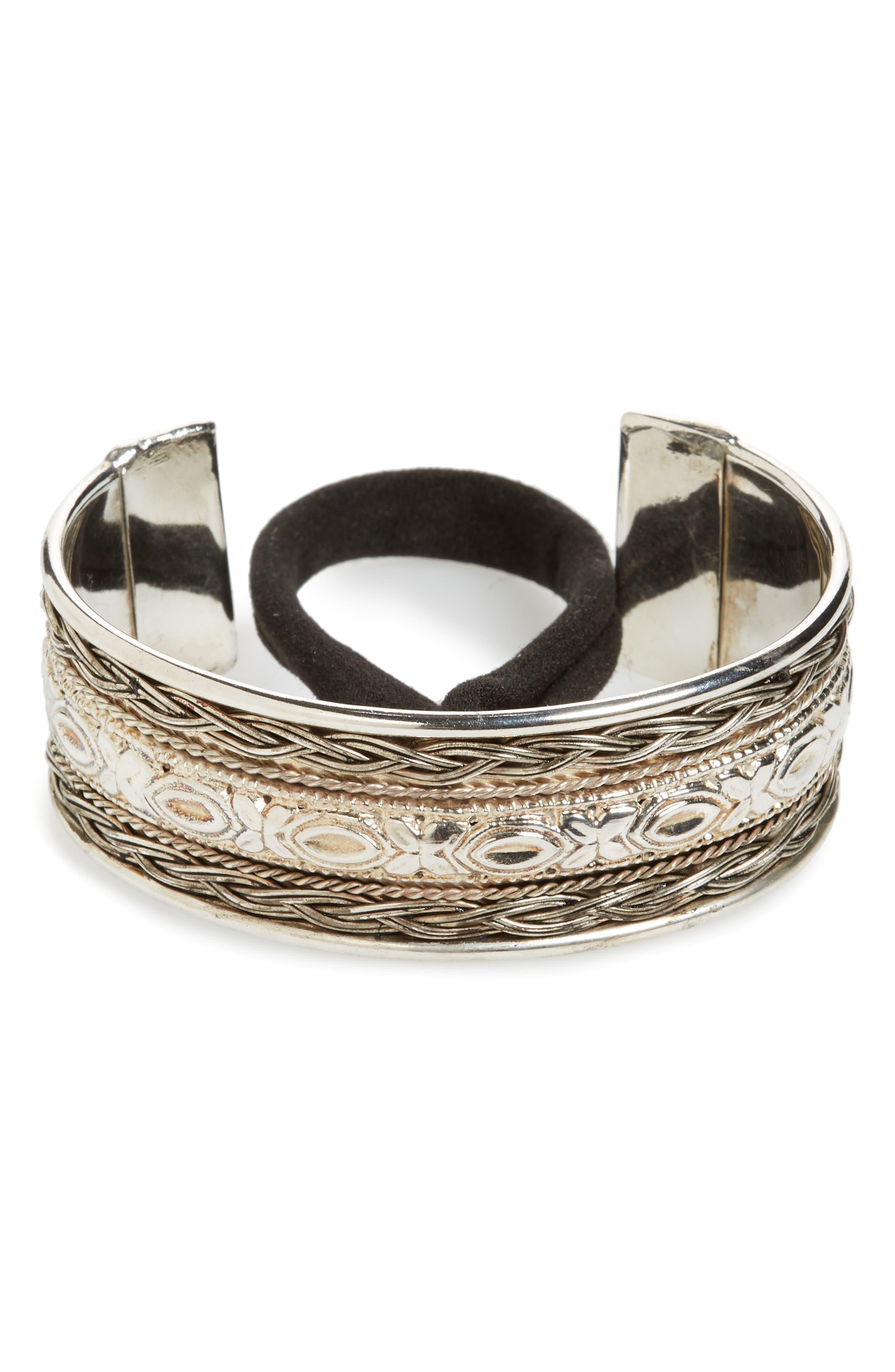 Textured Metal Bun Cuff,                             Main thumbnail 1, color,                             Silver