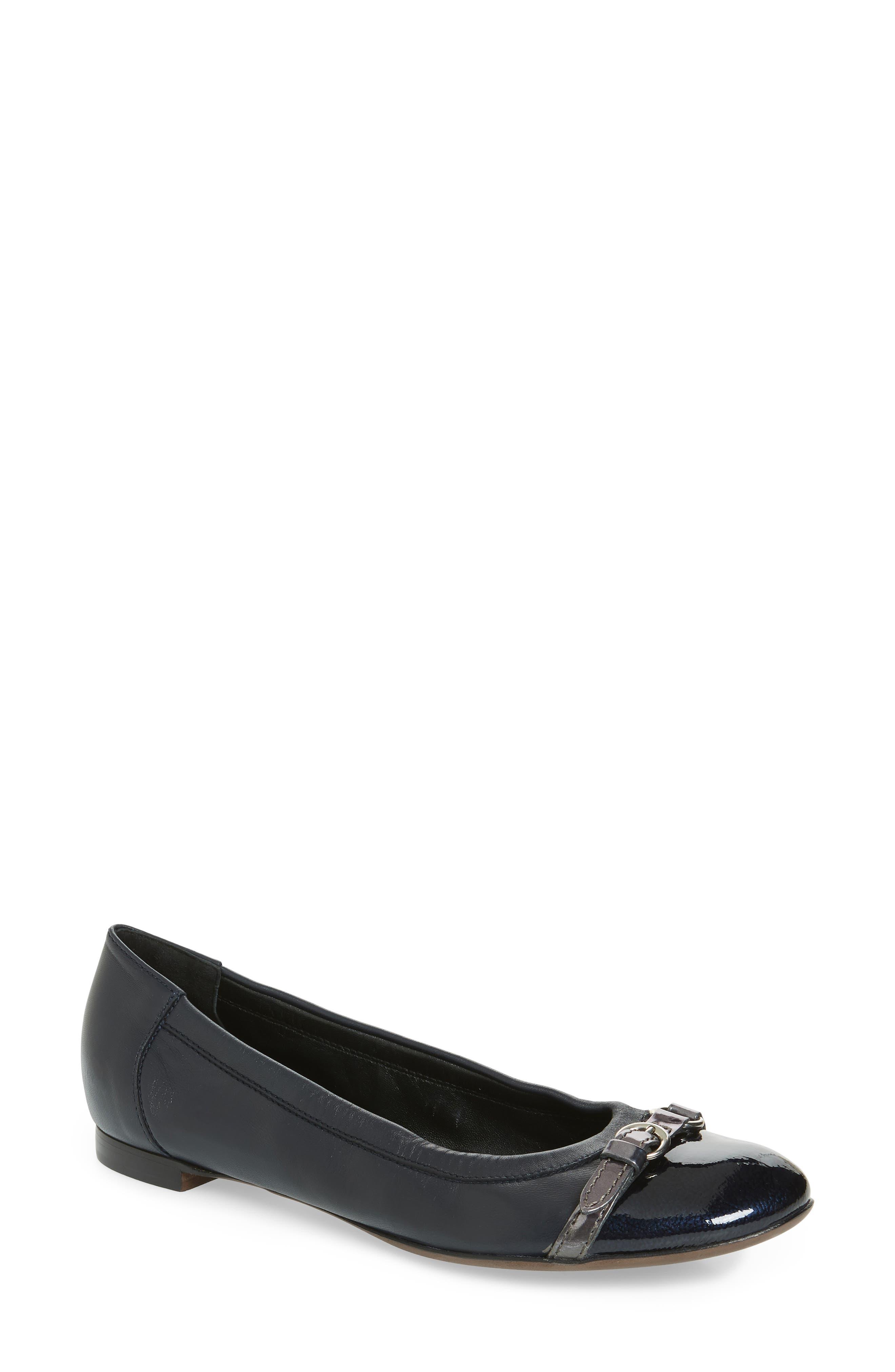 Cap Toe Ballerina Flat,                         Main,                         color, Navy Leather