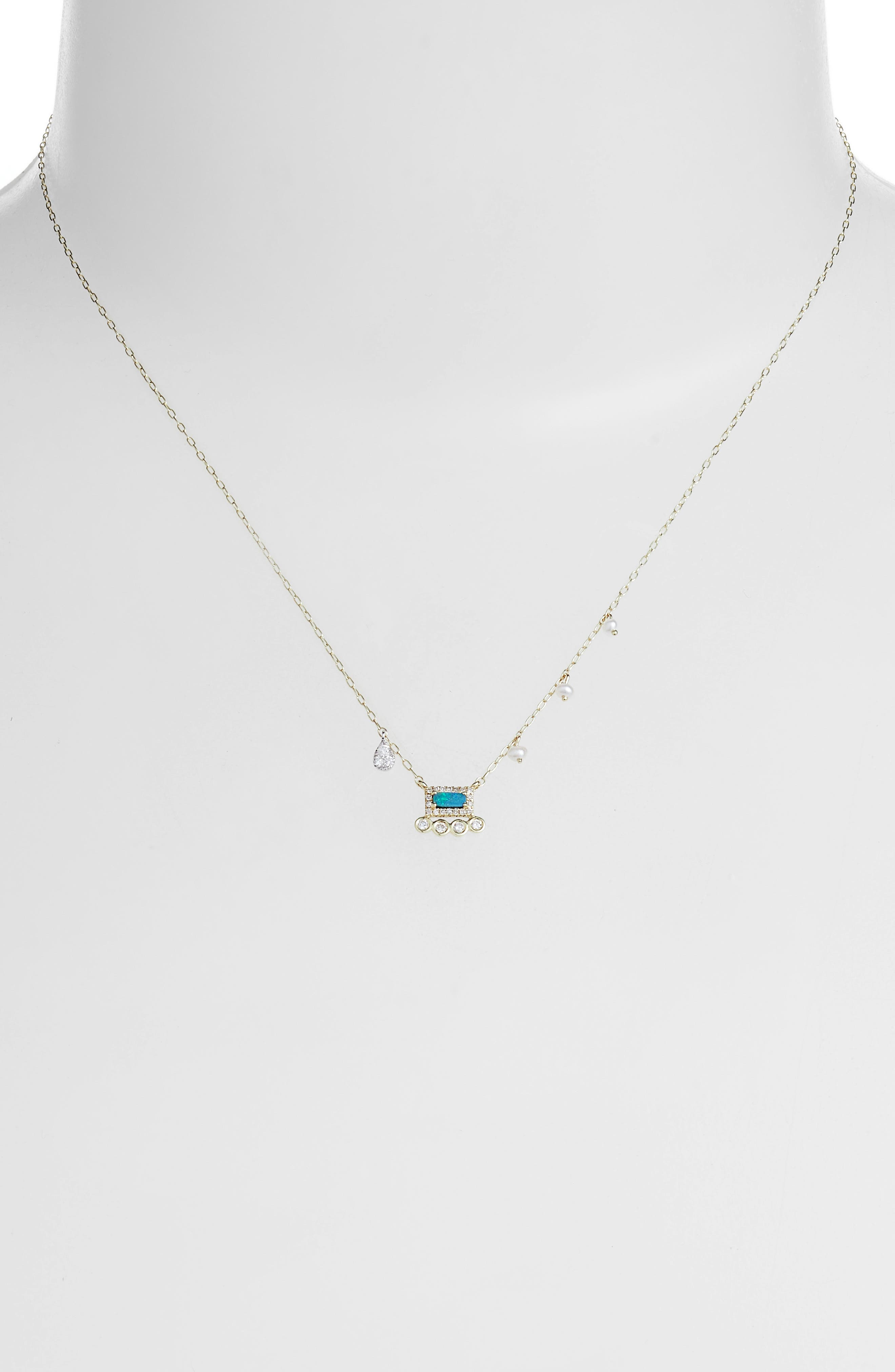 Meira T Opal & Diamond Charm Necklace