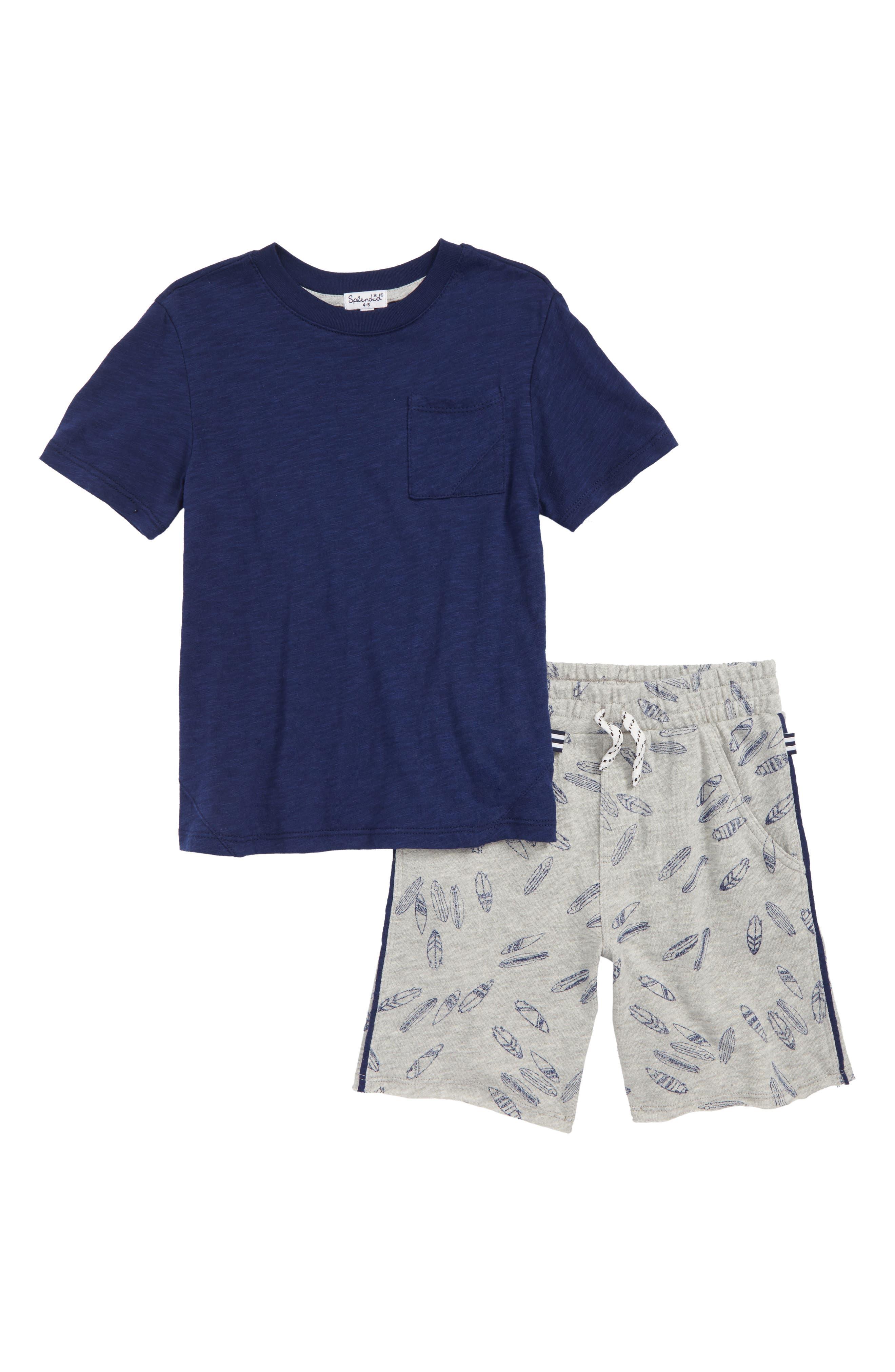 T-Shirt & Surfboard Graphic Shorts Set,                         Main,                         color, Indigo Sky