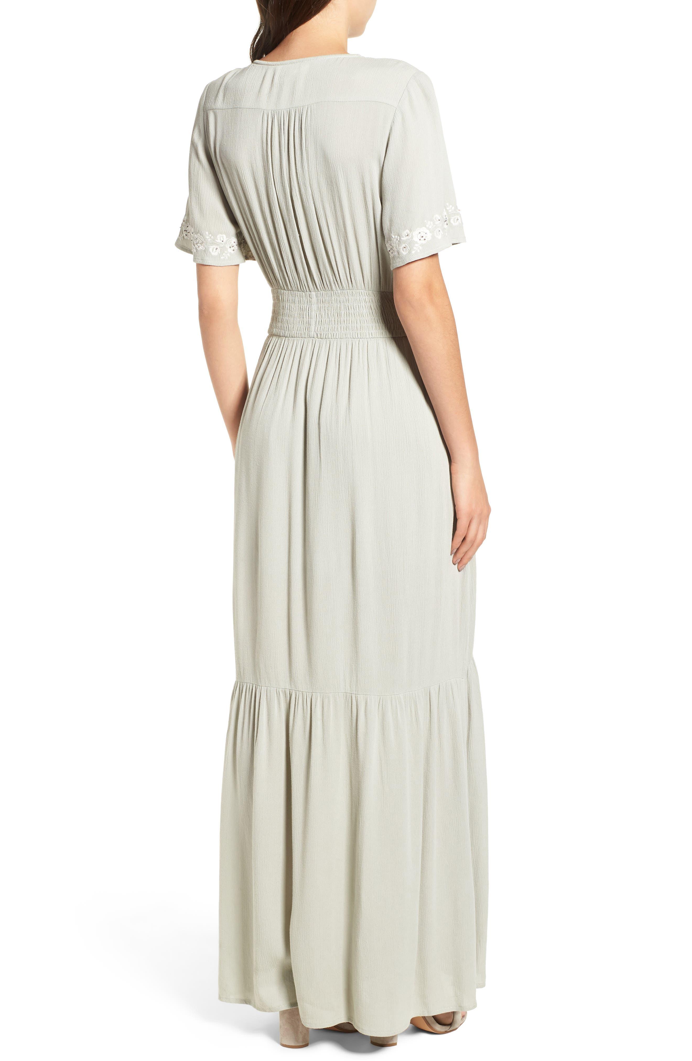 Athena Embroidered Maxi Dress,                             Alternate thumbnail 3, color,                             Sage