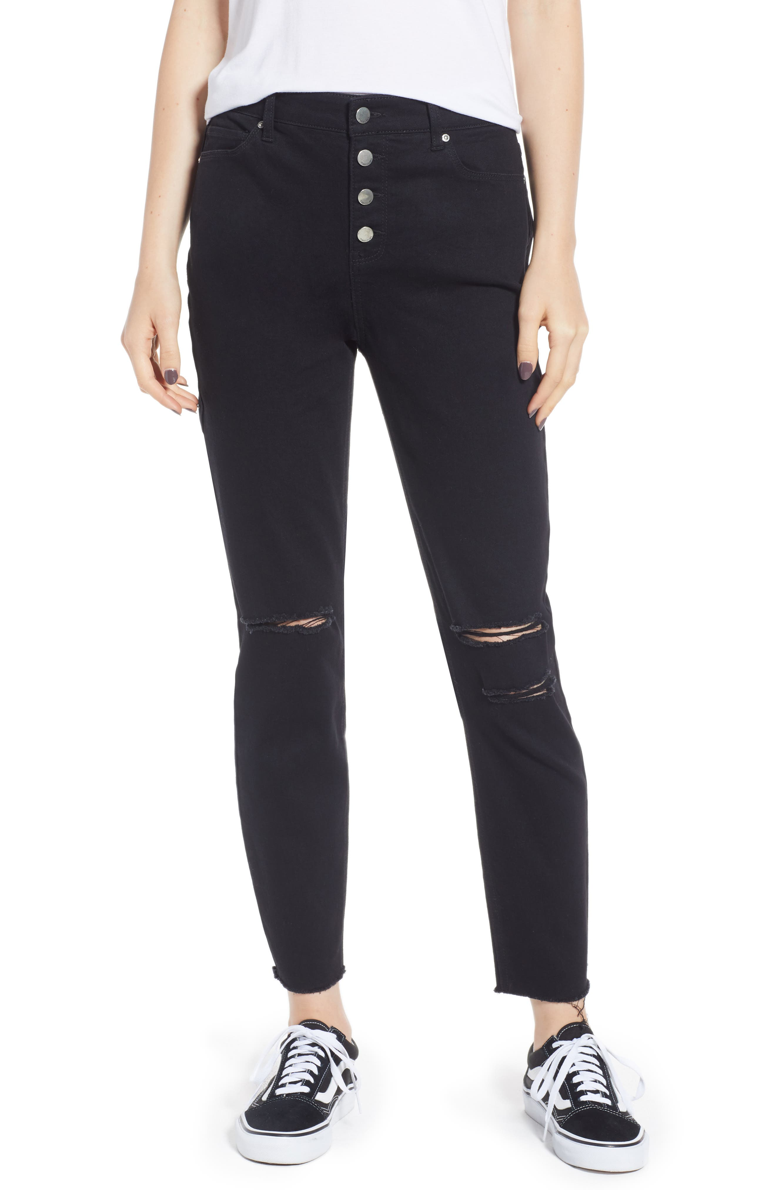 Ripped High Waist Ankle Skinny Jeans,                             Main thumbnail 1, color,                             Black Rinse