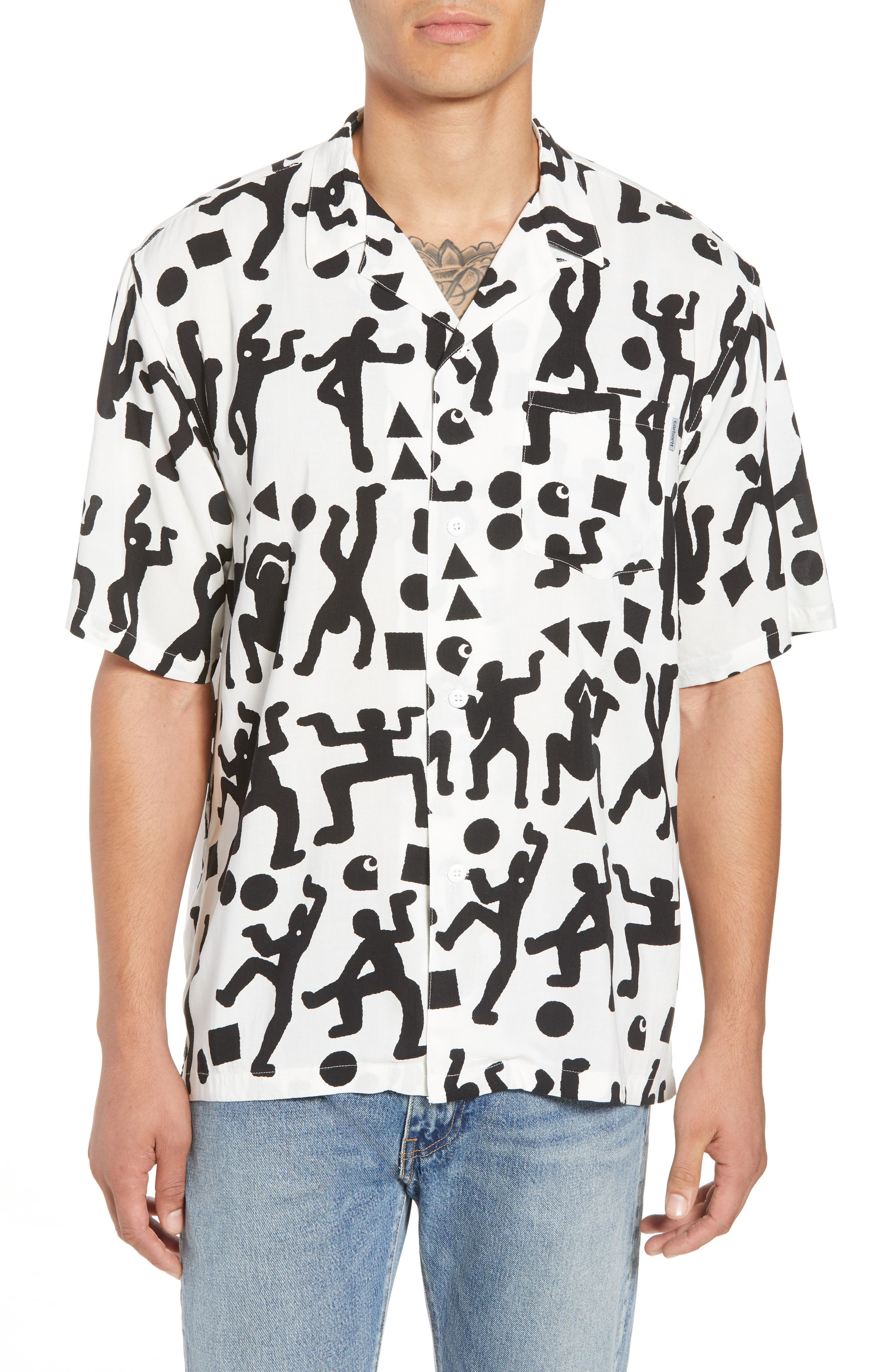 World Party Woven Shirt,                             Main thumbnail 1, color,                             World Party Print Black/ White