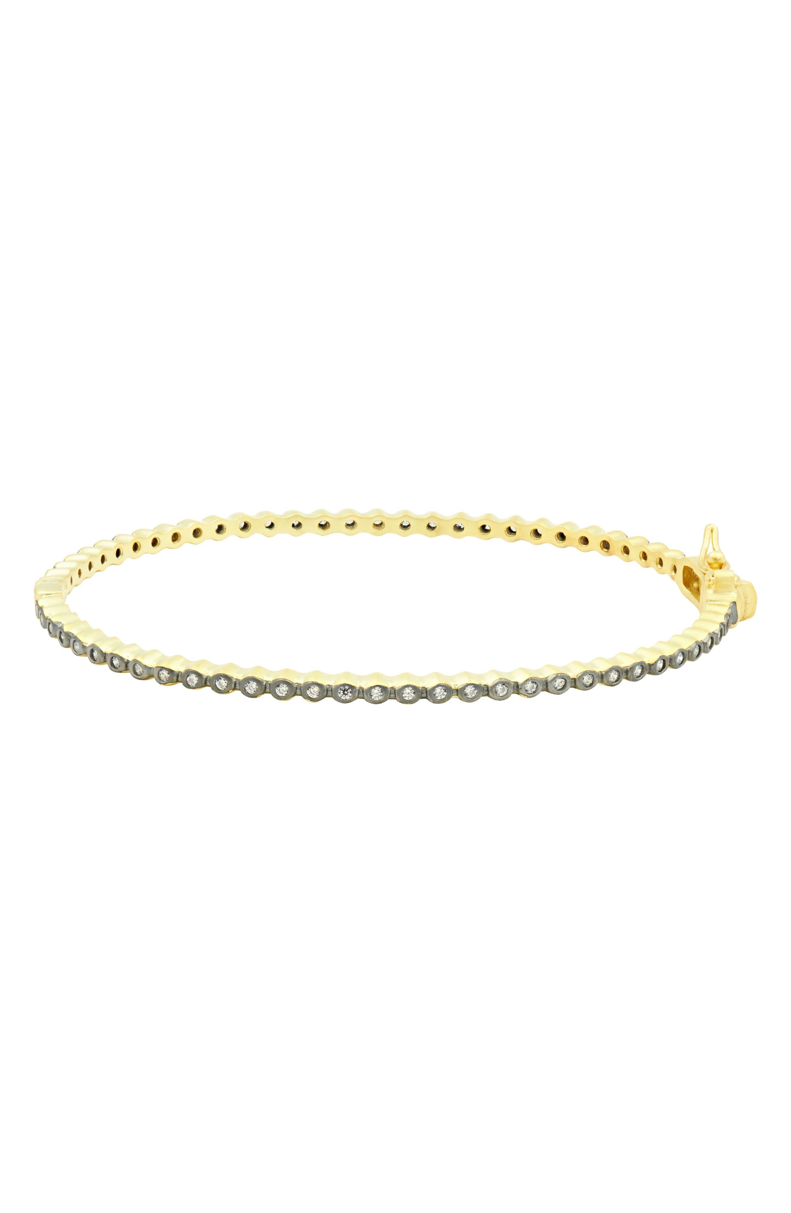 Signature Bezel Pavé Hinge Bangle Bracelet,                         Main,                         color, Gold/ Black