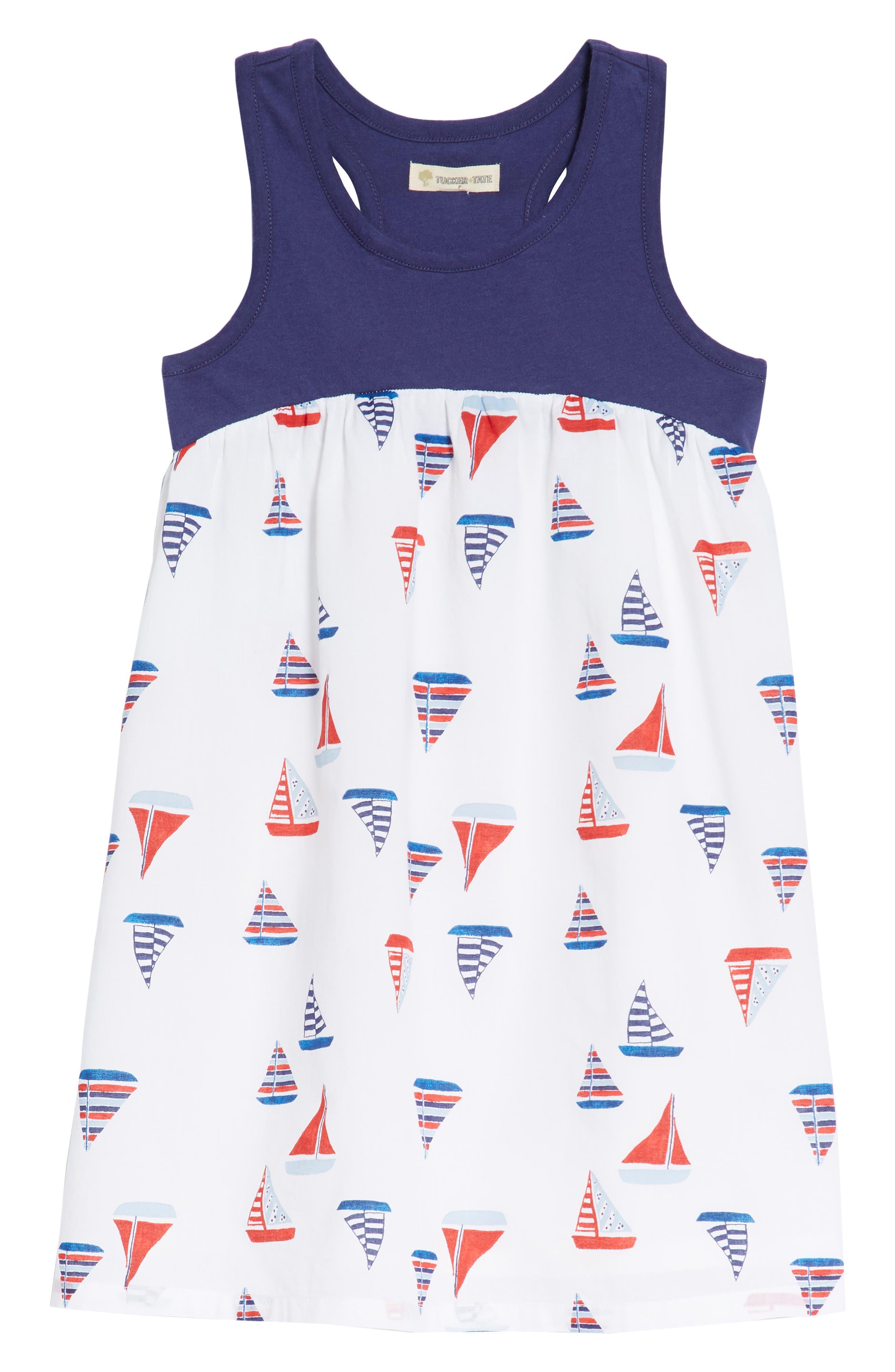 Racerback Tank Dress,                             Main thumbnail 1, color,                             White Multi Sailboats