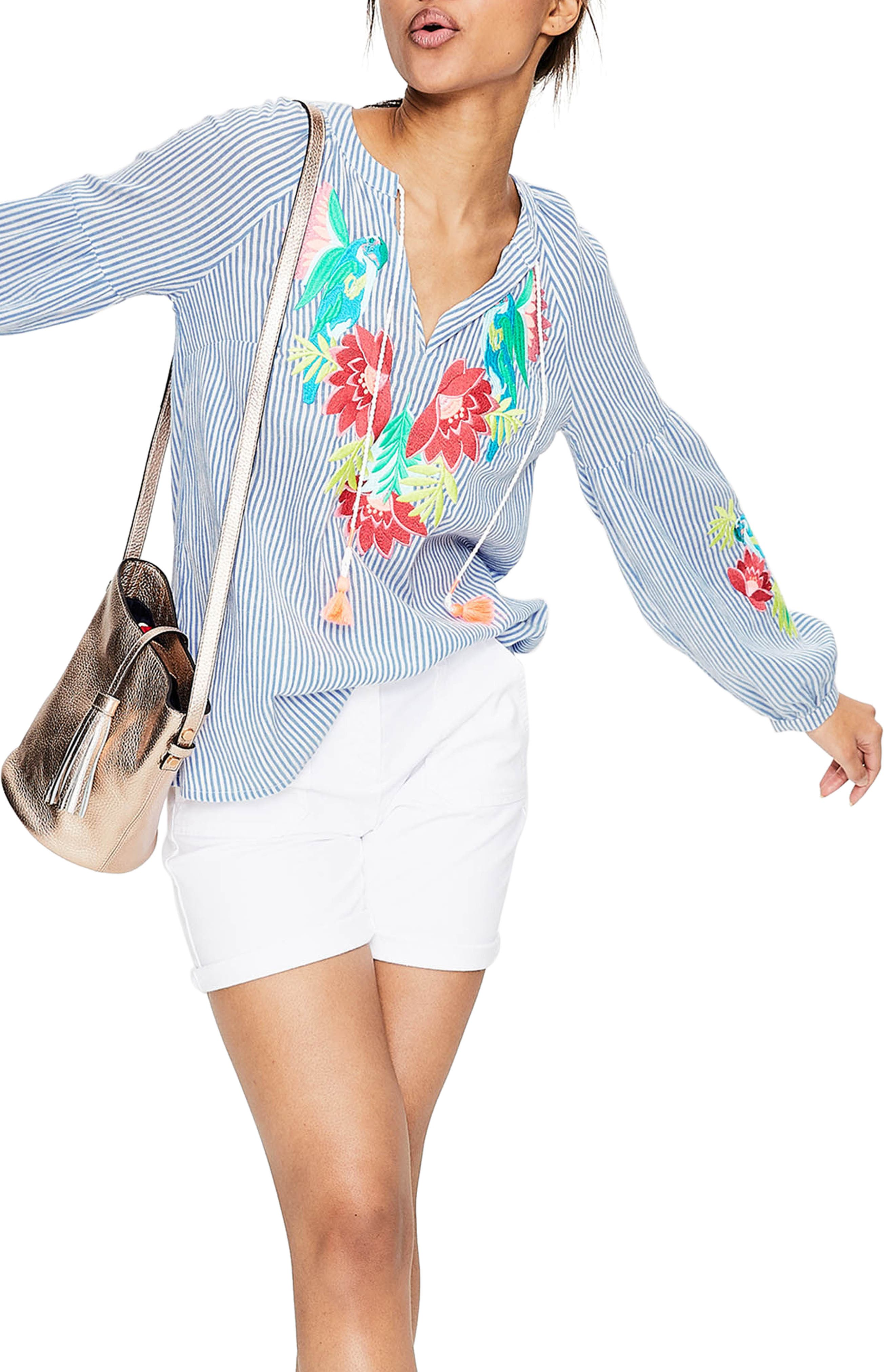 Embroidered Tassel Top,                         Main,                         color, Floral Parrot Embroi