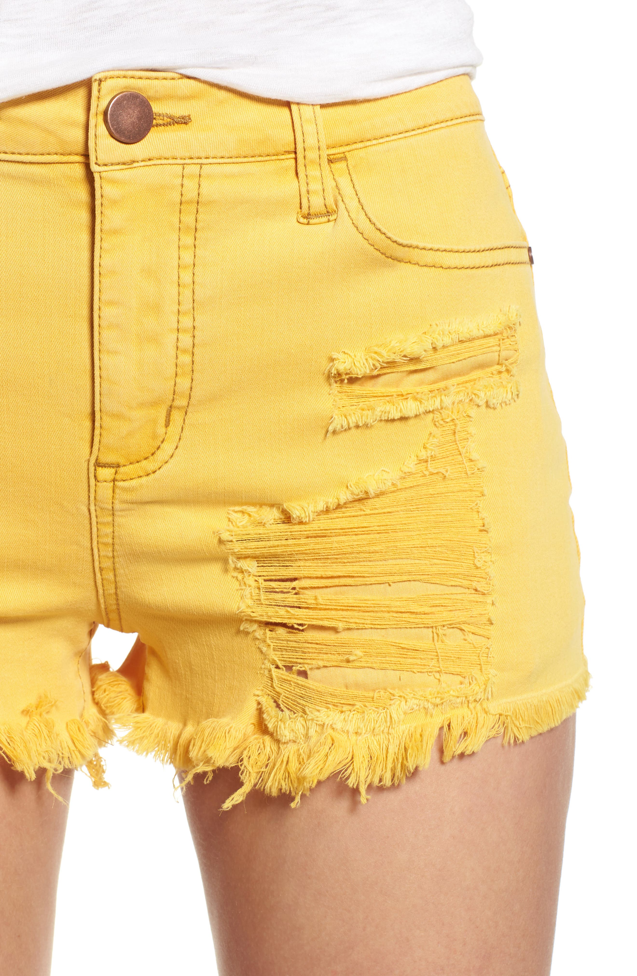 Decon Ripped Denim Shorts,                             Alternate thumbnail 4, color,                             Marigold