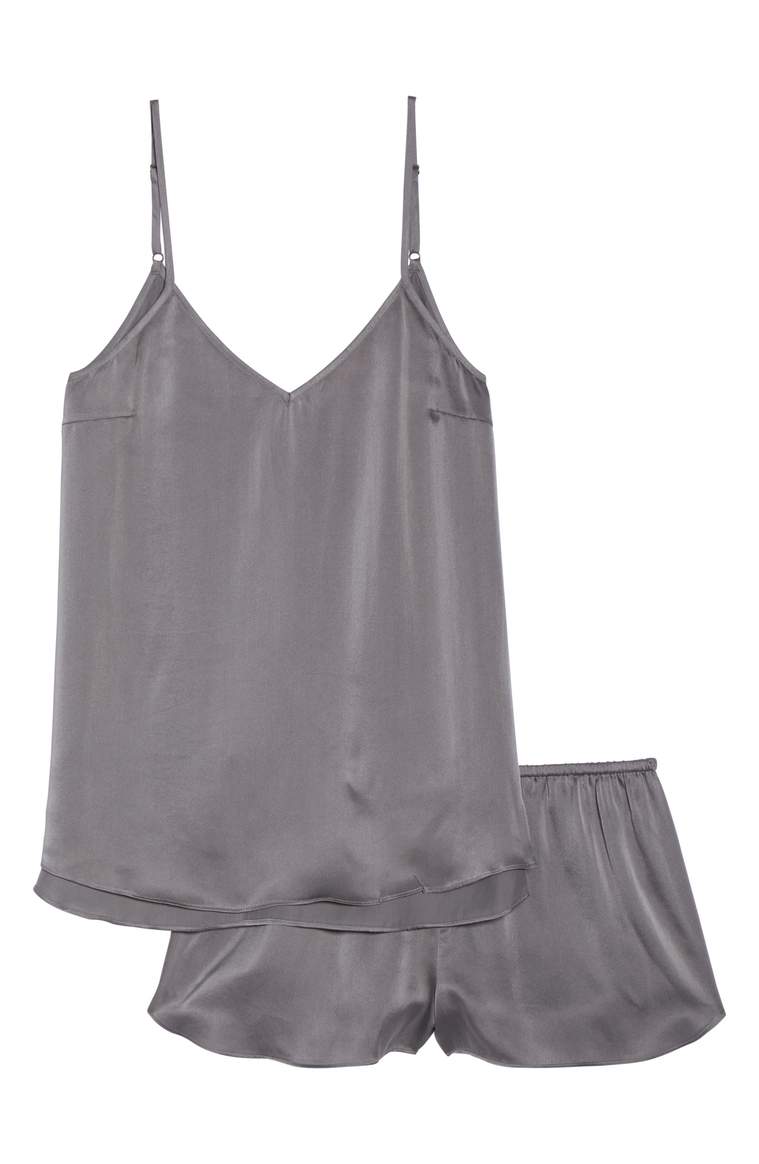 Short Silk Pajamas,                             Alternate thumbnail 6, color,                             Charcoal