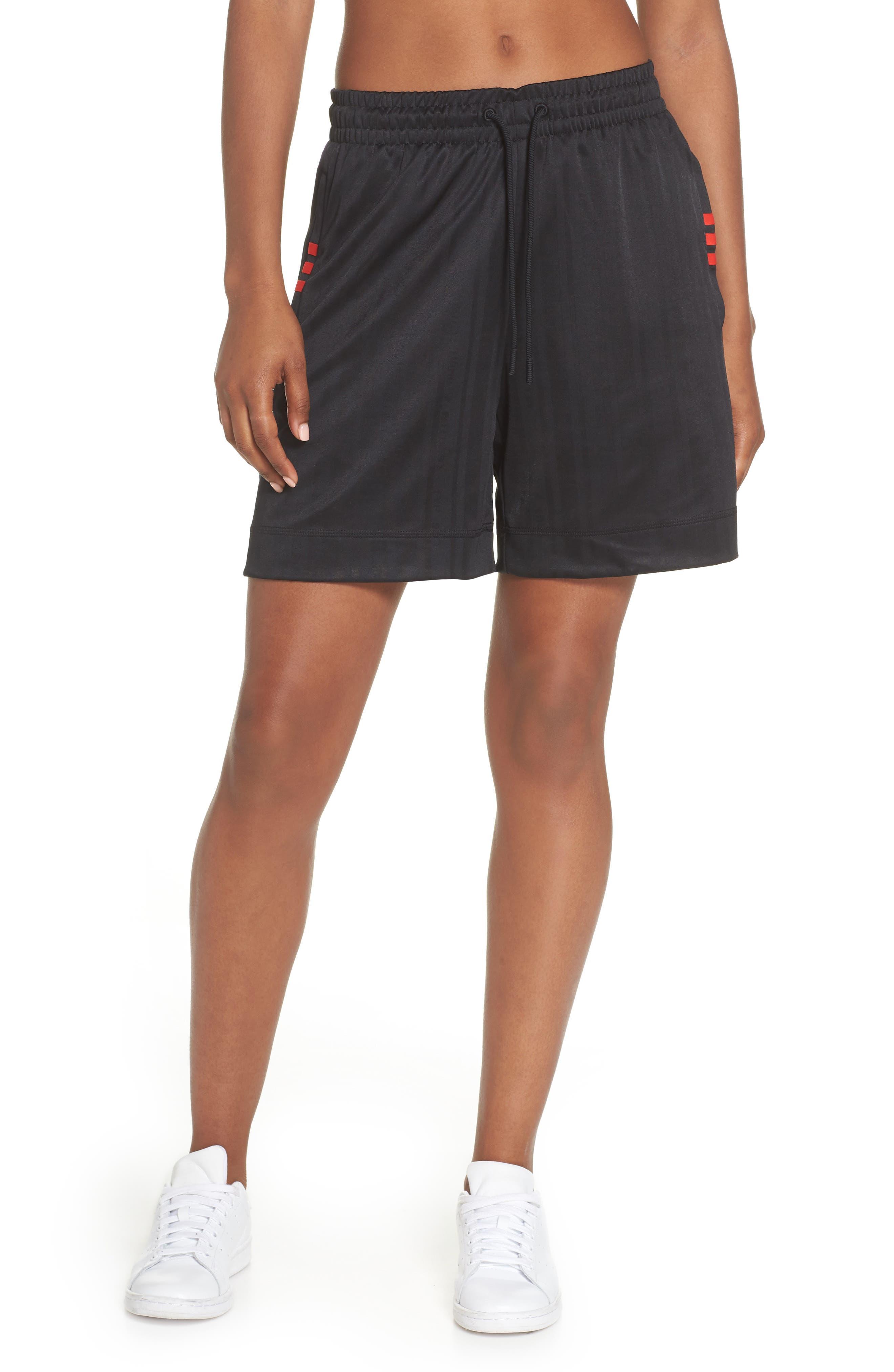 Soccer Shorts,                             Main thumbnail 1, color,                             Black/ Core Red