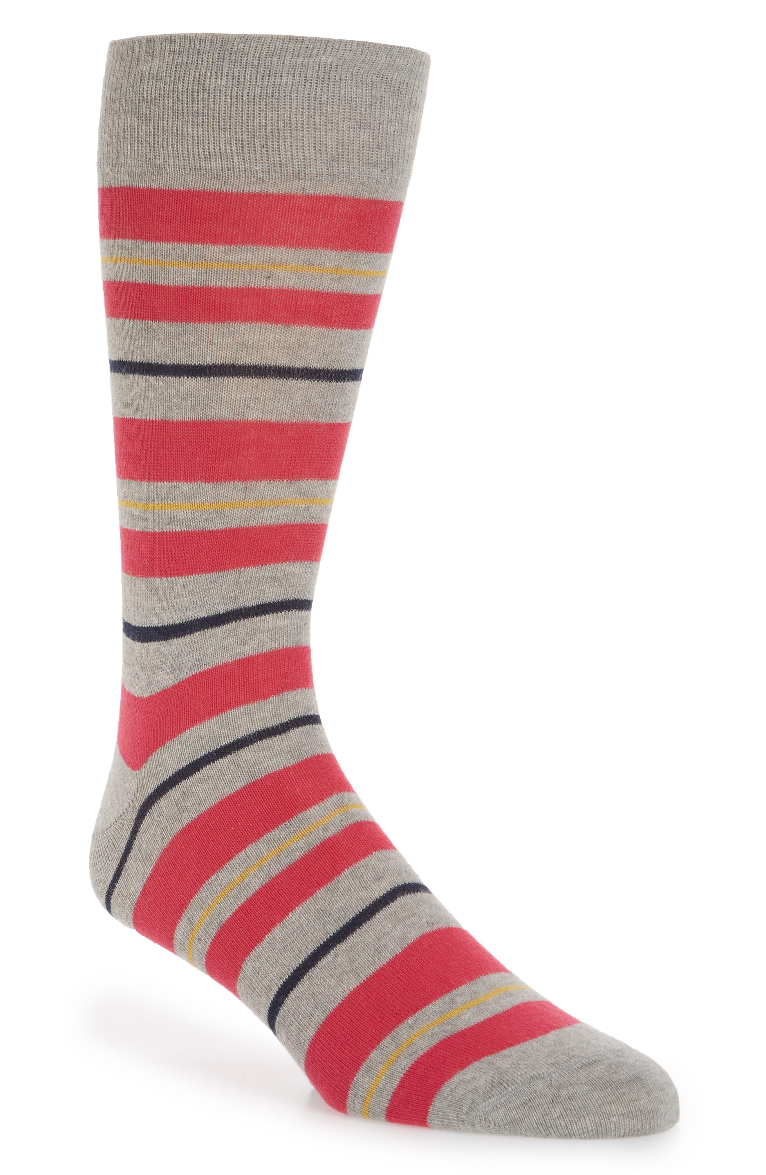 Uneven Stripe Socks,                         Main,                         color, Light Grey