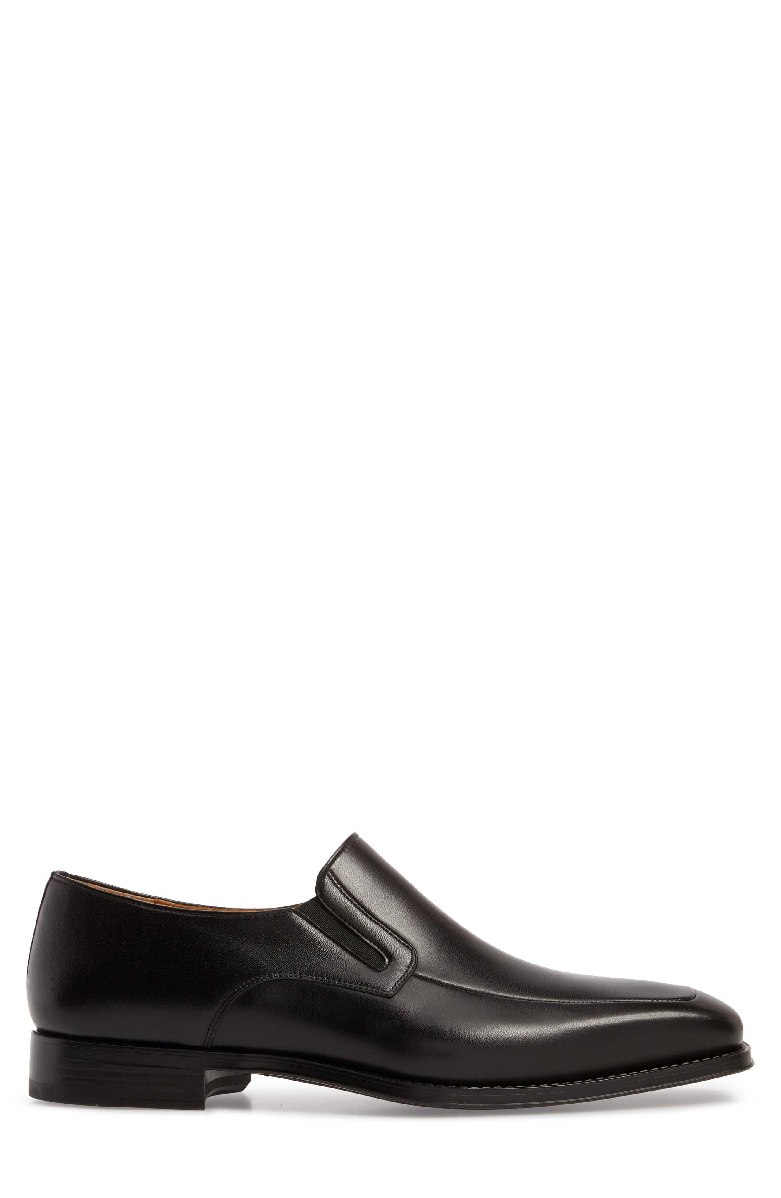 Fabricio Apron Toe Slip-On,                             Alternate thumbnail 5, color,                             Black Leather