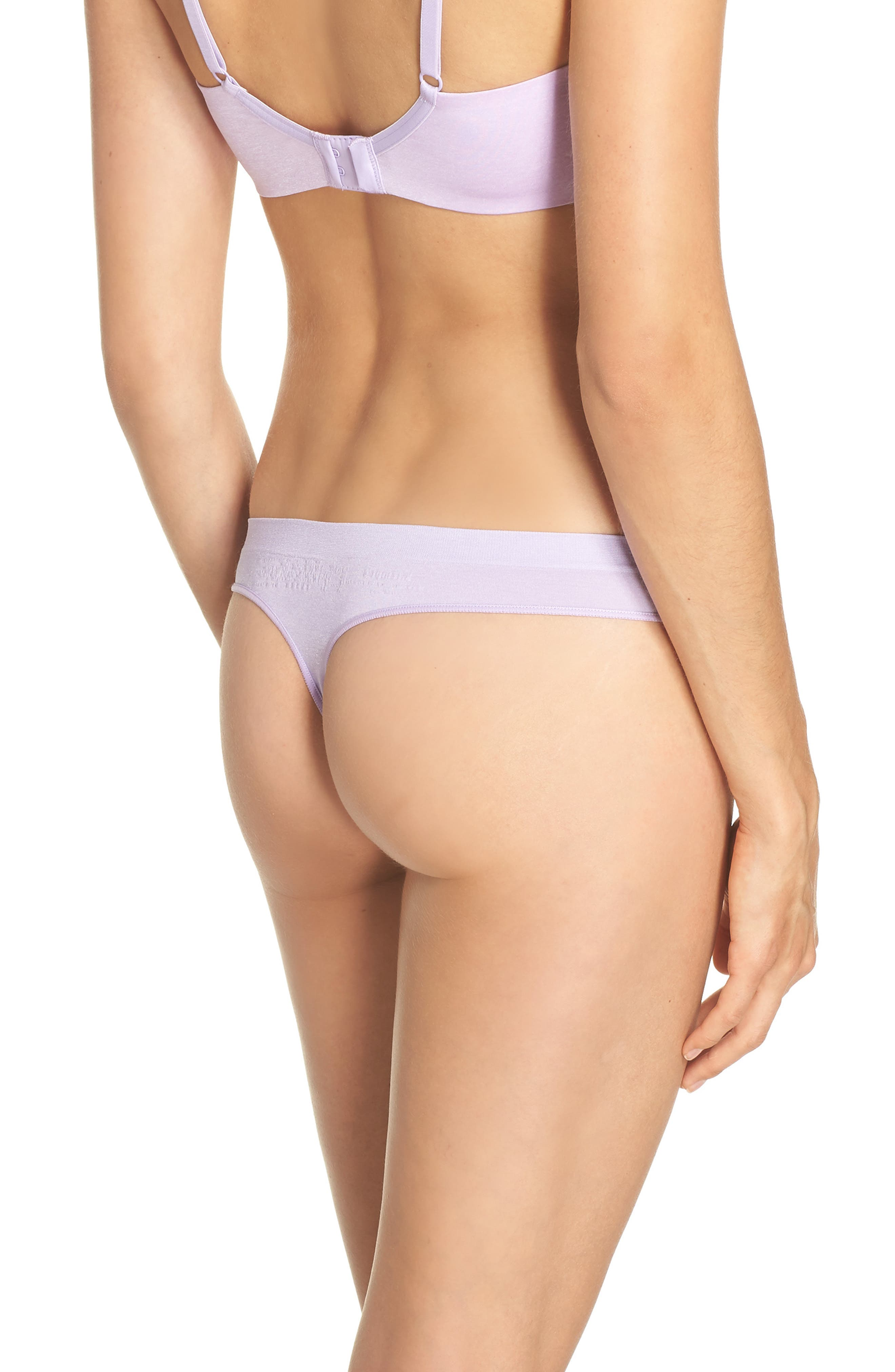 Stretch Thong,                             Alternate thumbnail 2, color,                             Purple Rose Heather