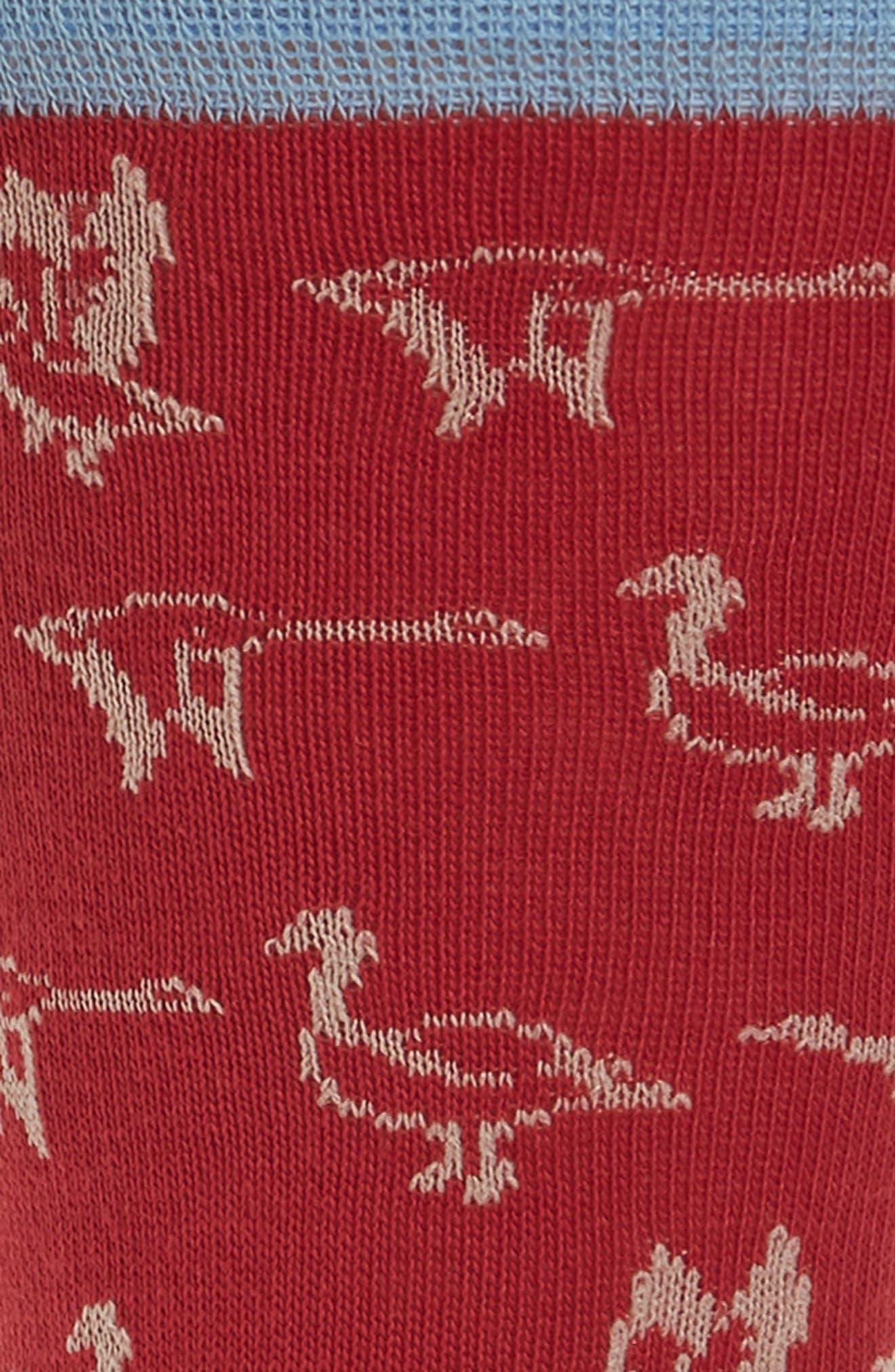 Birds Crew Socks,                             Alternate thumbnail 2, color,                             Magenta