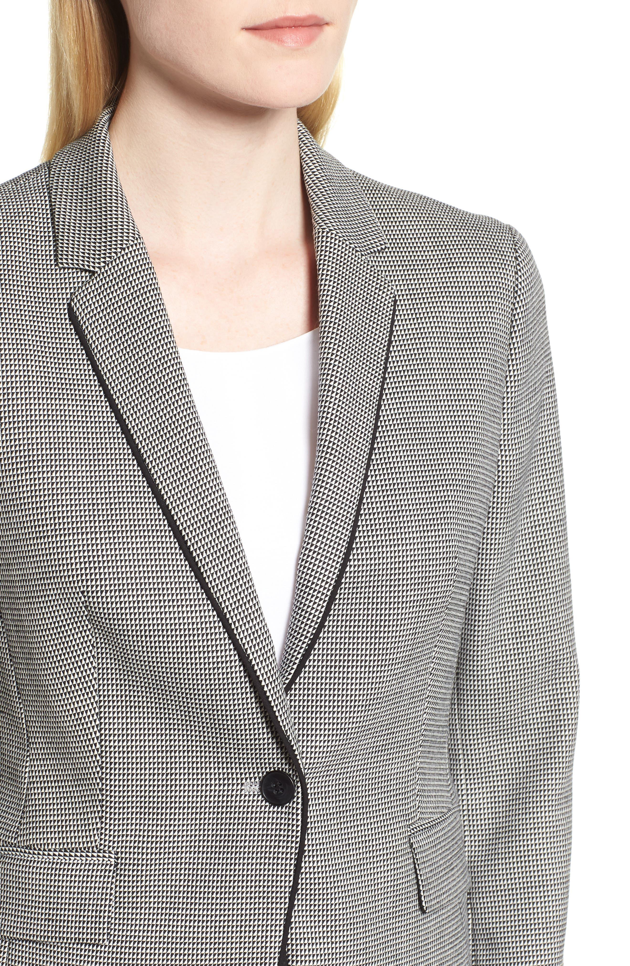 Jorita Wool Blend Suit Jacket,                             Alternate thumbnail 4, color,                             Black Fantasy