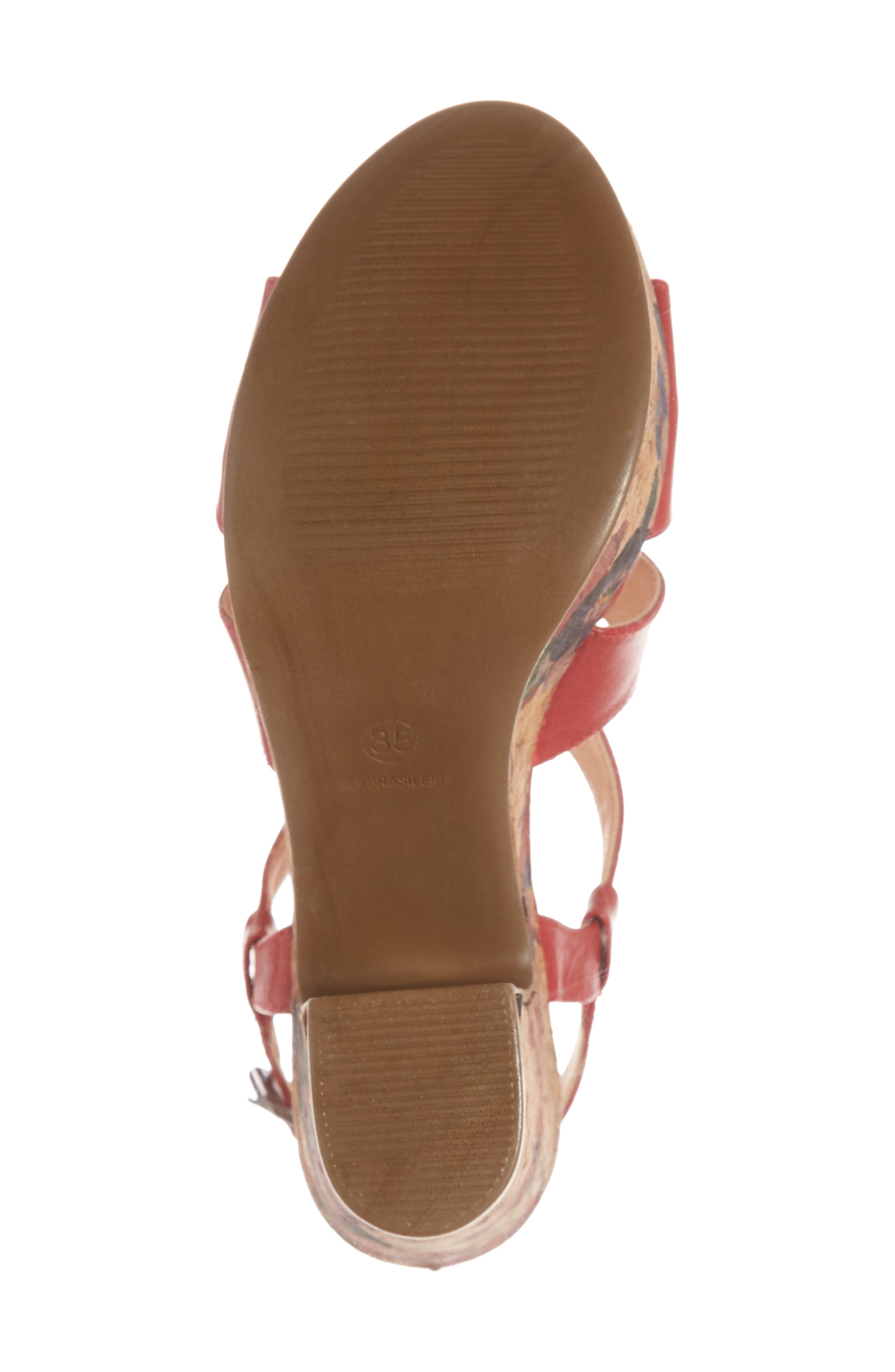 Victoria Platform Sandal,                             Alternate thumbnail 6, color,                             Red Leather