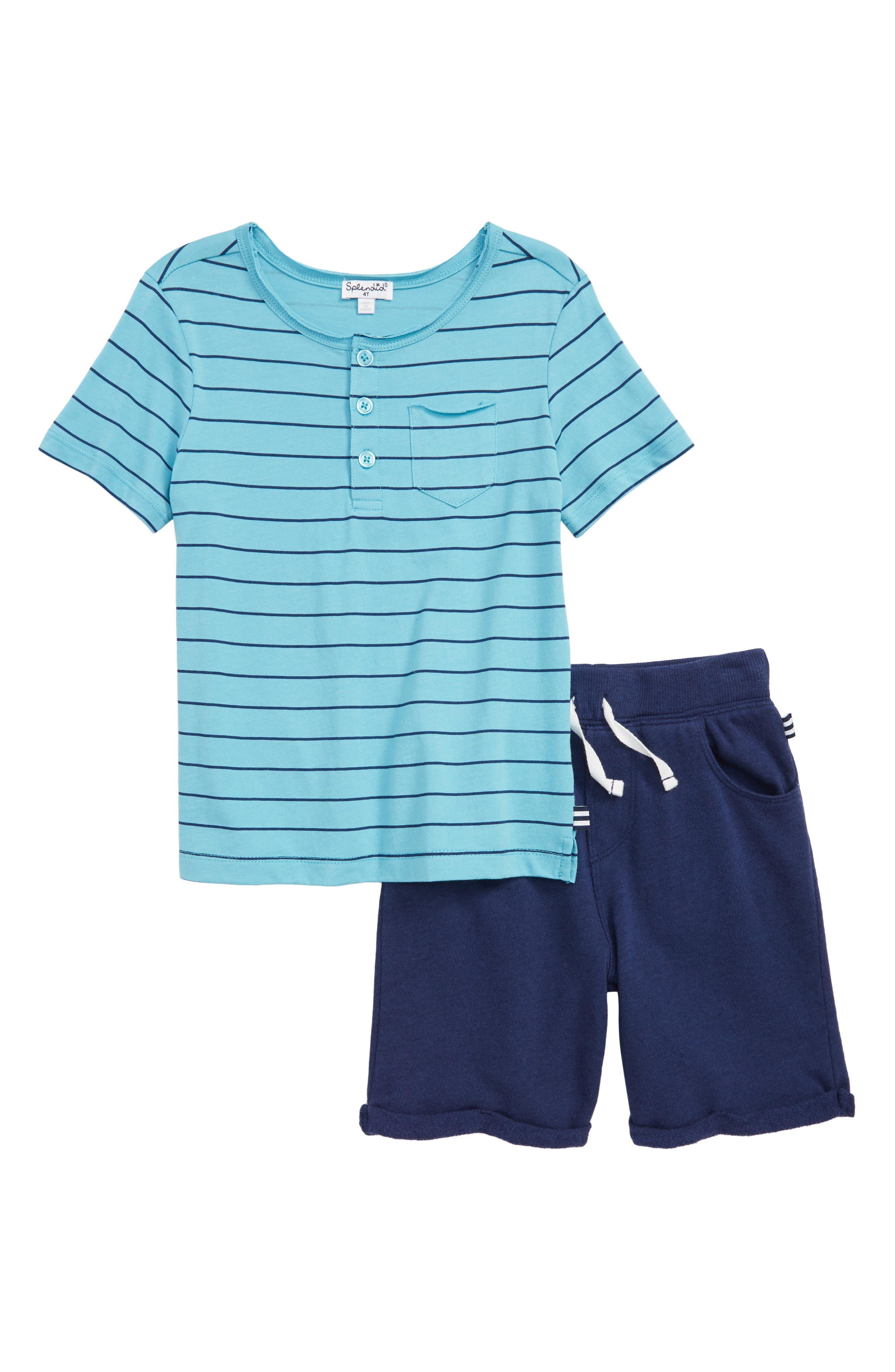 Stripe Henley T-Shirt & Shorts Set,                             Main thumbnail 1, color,                             Maui Blue