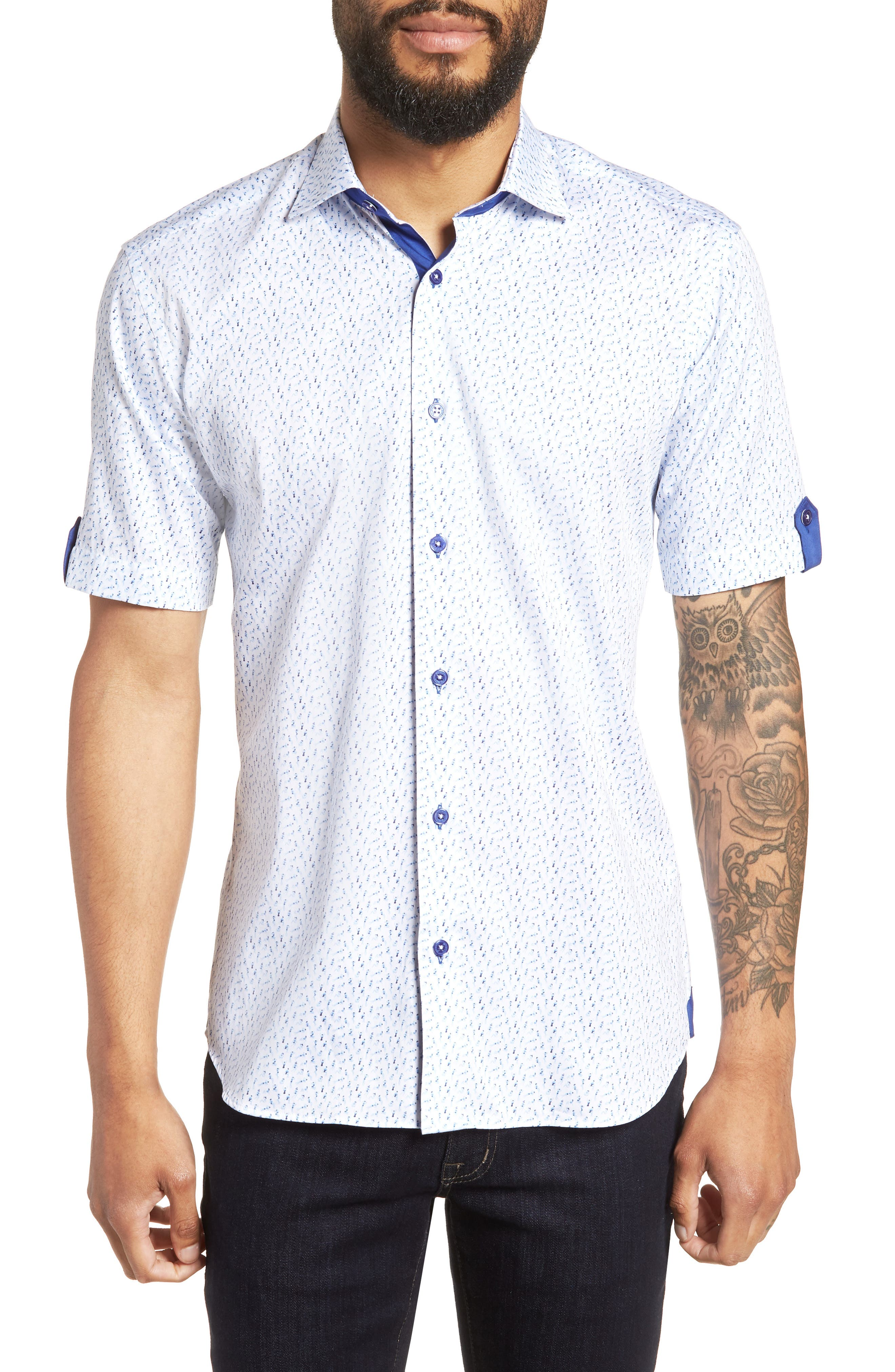 Fresh Swimsuit Print Sport Shirt,                             Main thumbnail 1, color,                             Blue