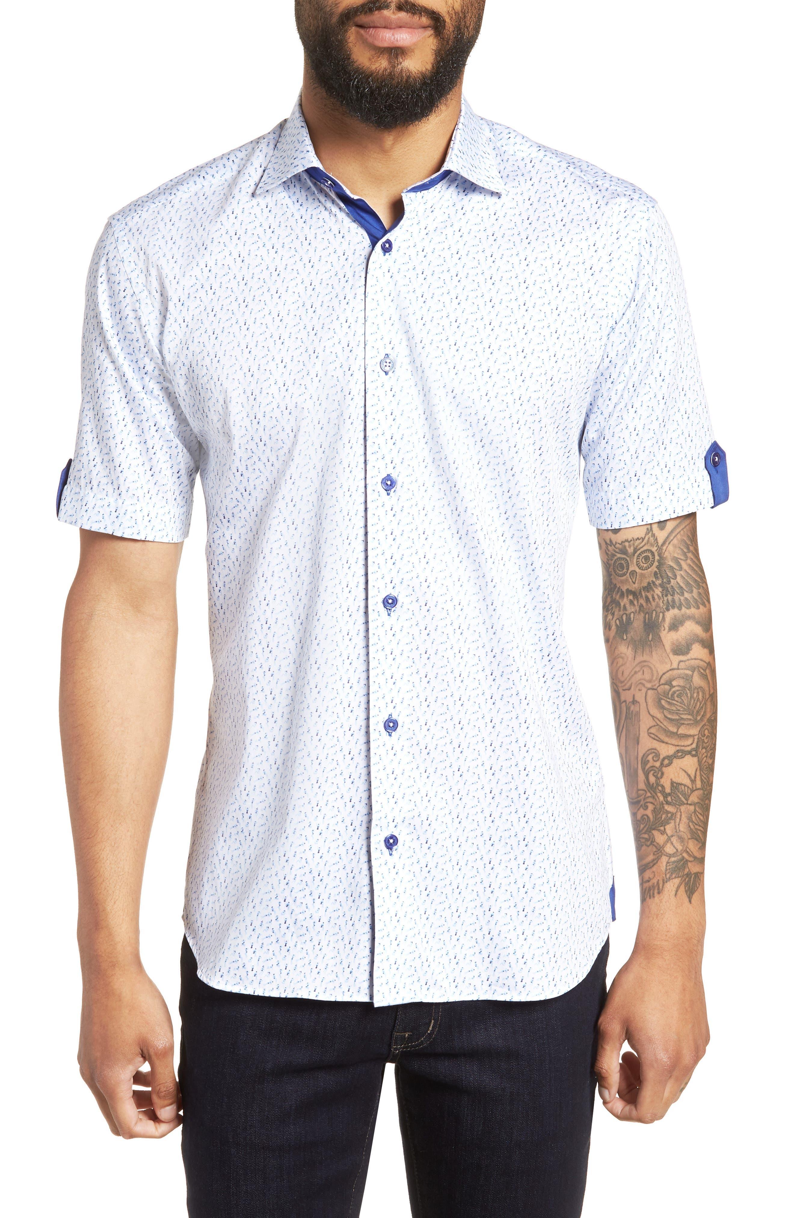 Fresh Swimsuit Print Sport Shirt,                         Main,                         color, Blue