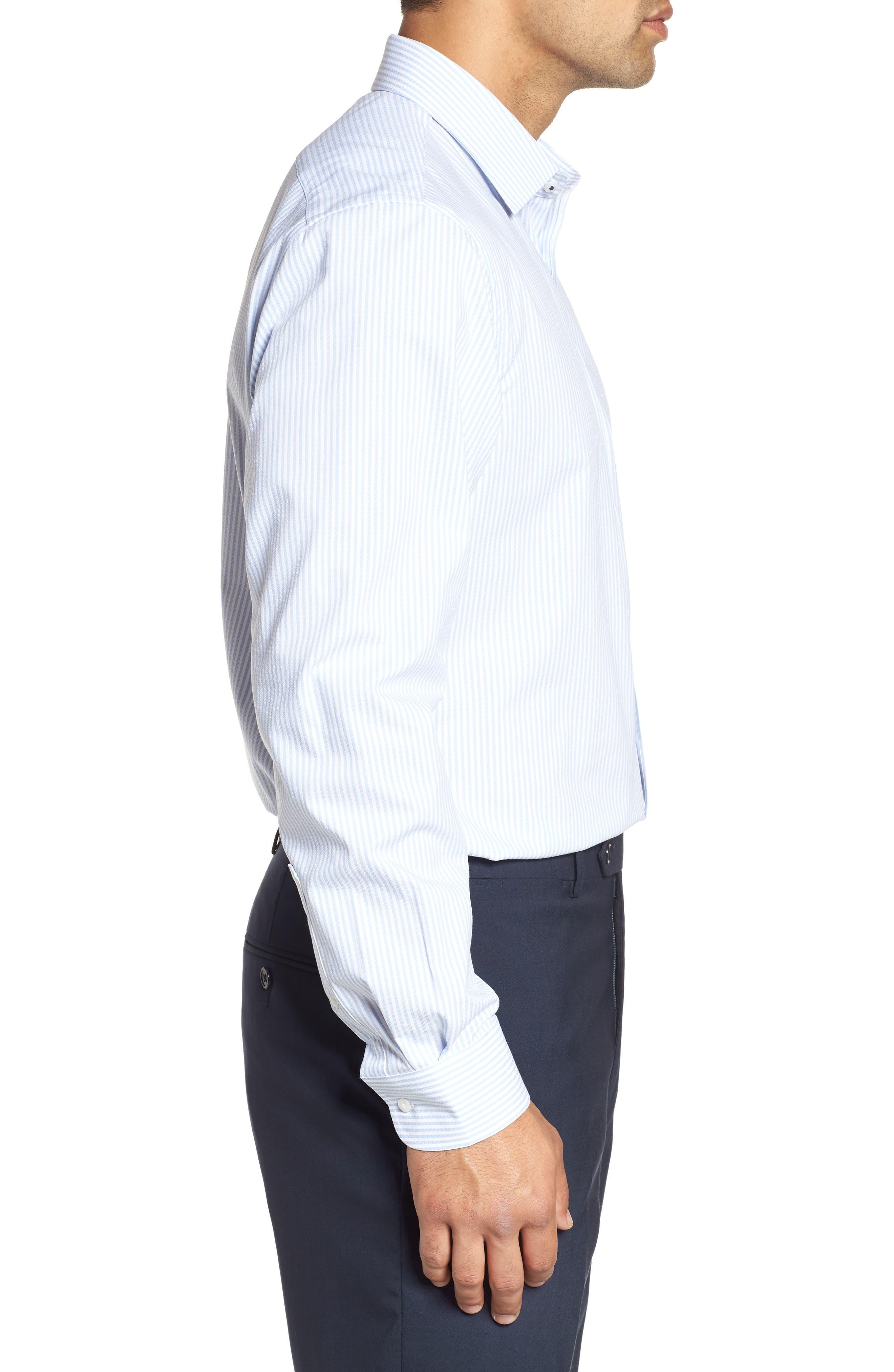 Tech-Smart Traditional Fit Stripe Stretch Dress Shirt,                             Alternate thumbnail 4, color,                             Blue Brunnera