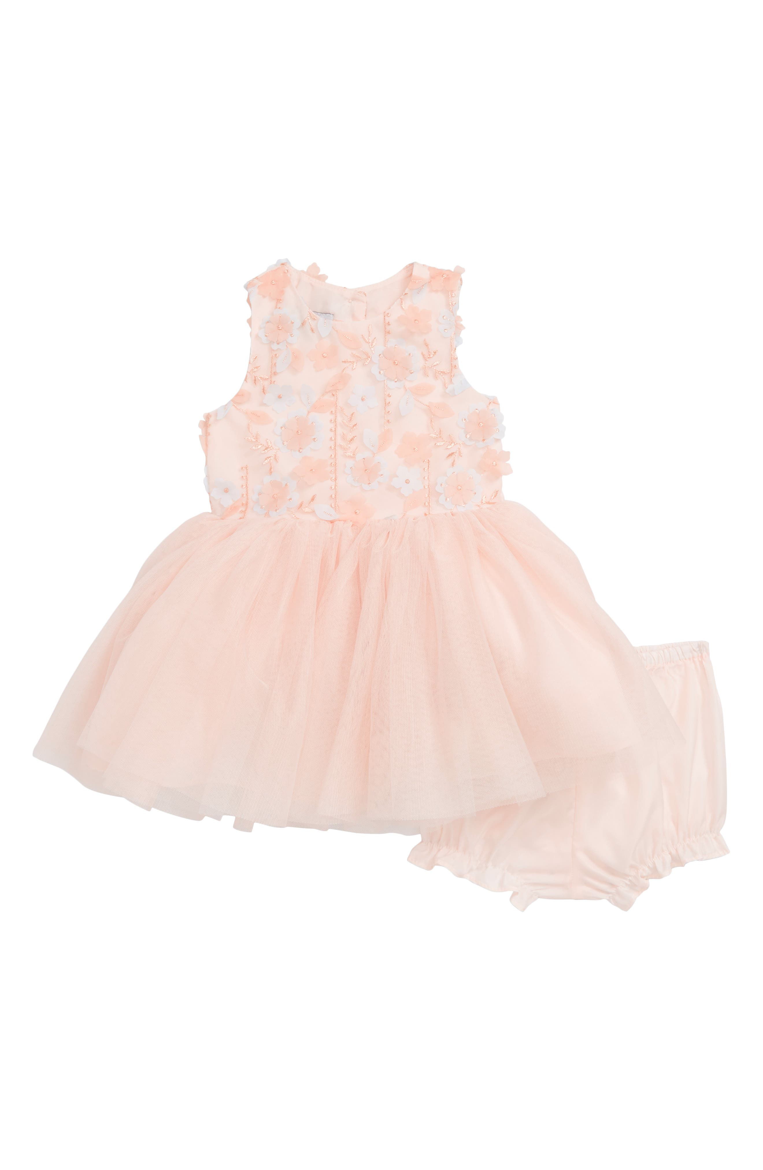 3D Flower Tutu Dress,                         Main,                         color, Peach/ Grey