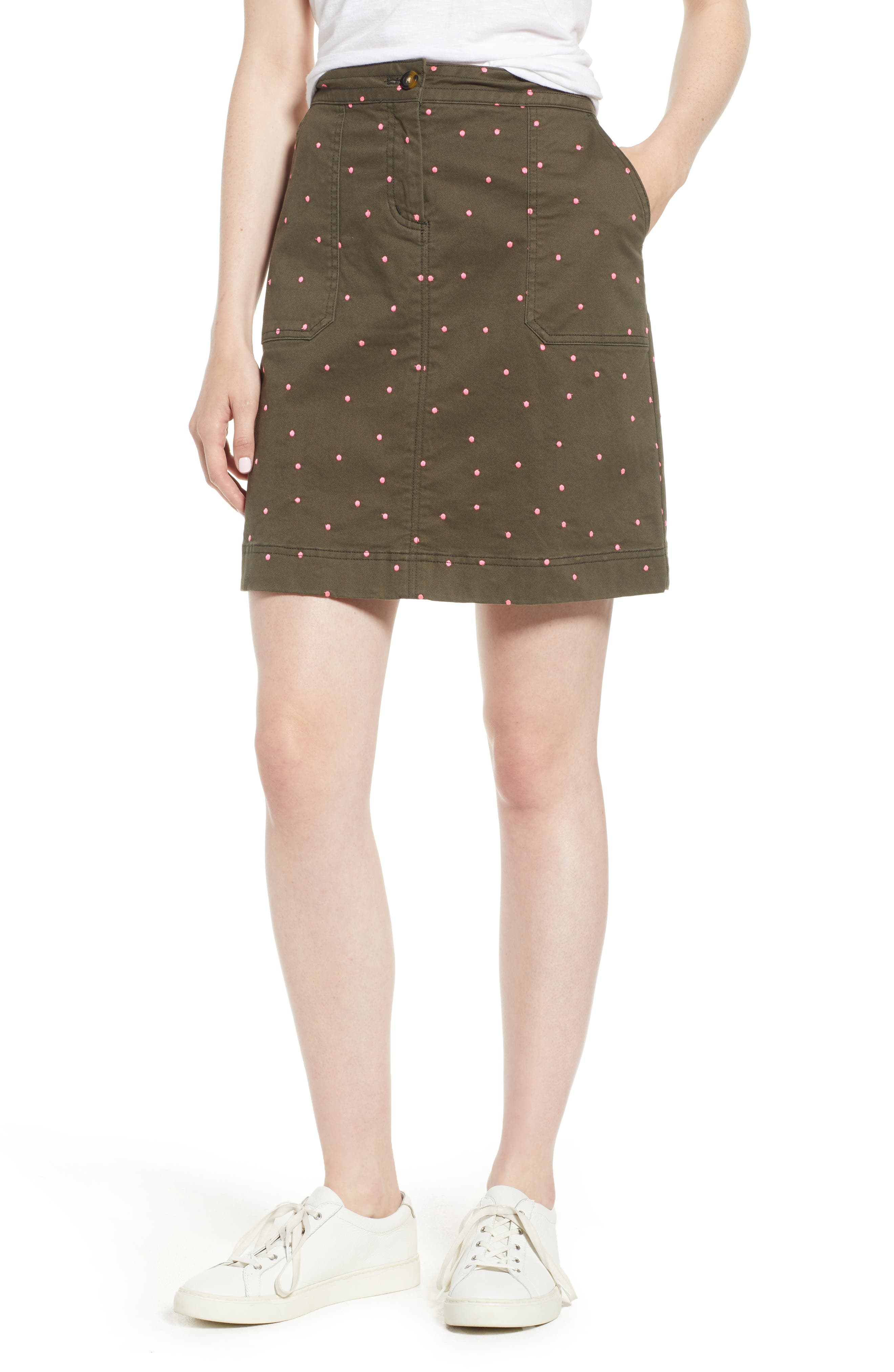 Stretch Cotton A-Line Skirt,                         Main,                         color, Khaki With Fluro Pin