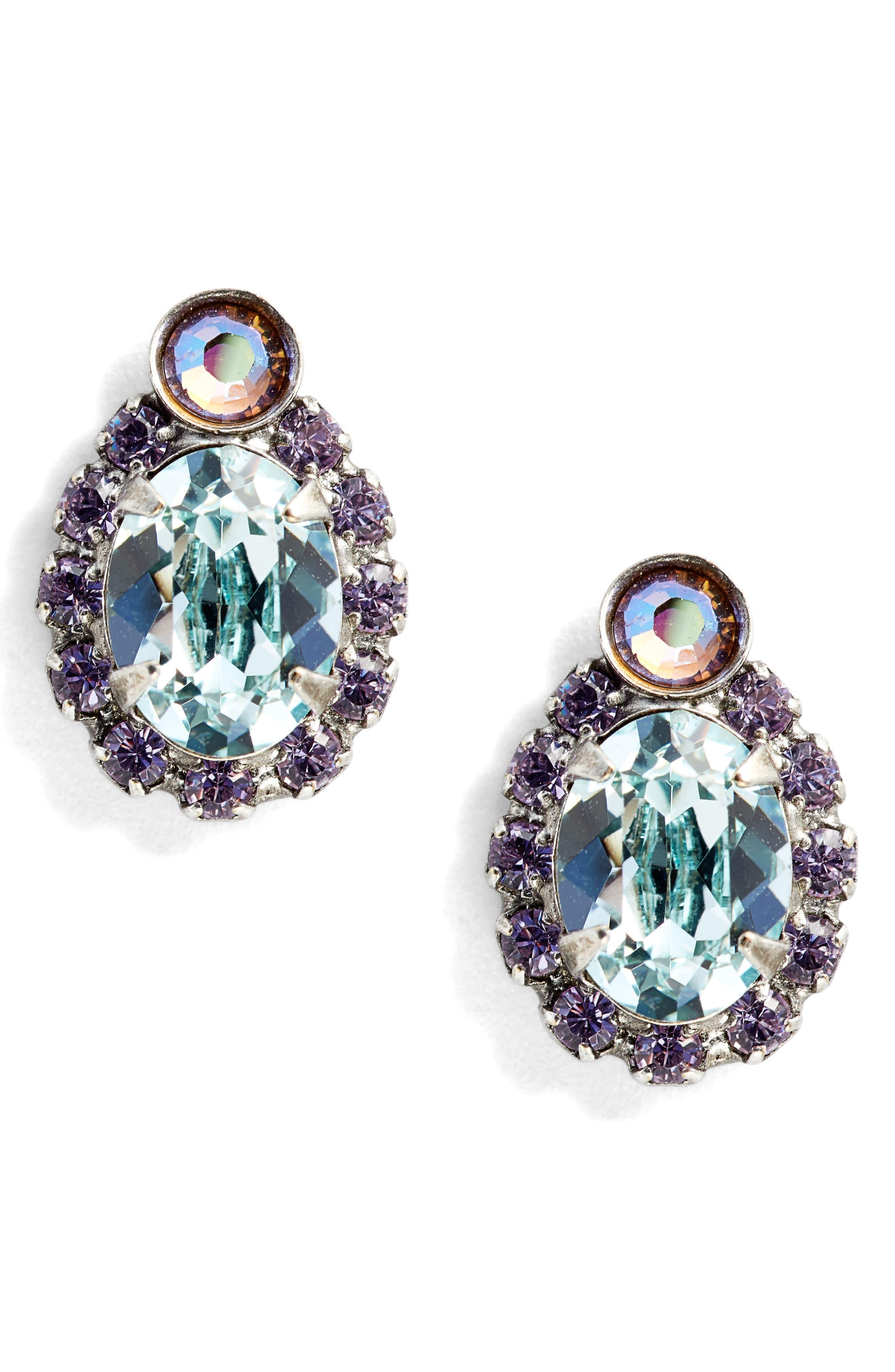 Pansy Crystal Earrings,                             Main thumbnail 1, color,                             Blue