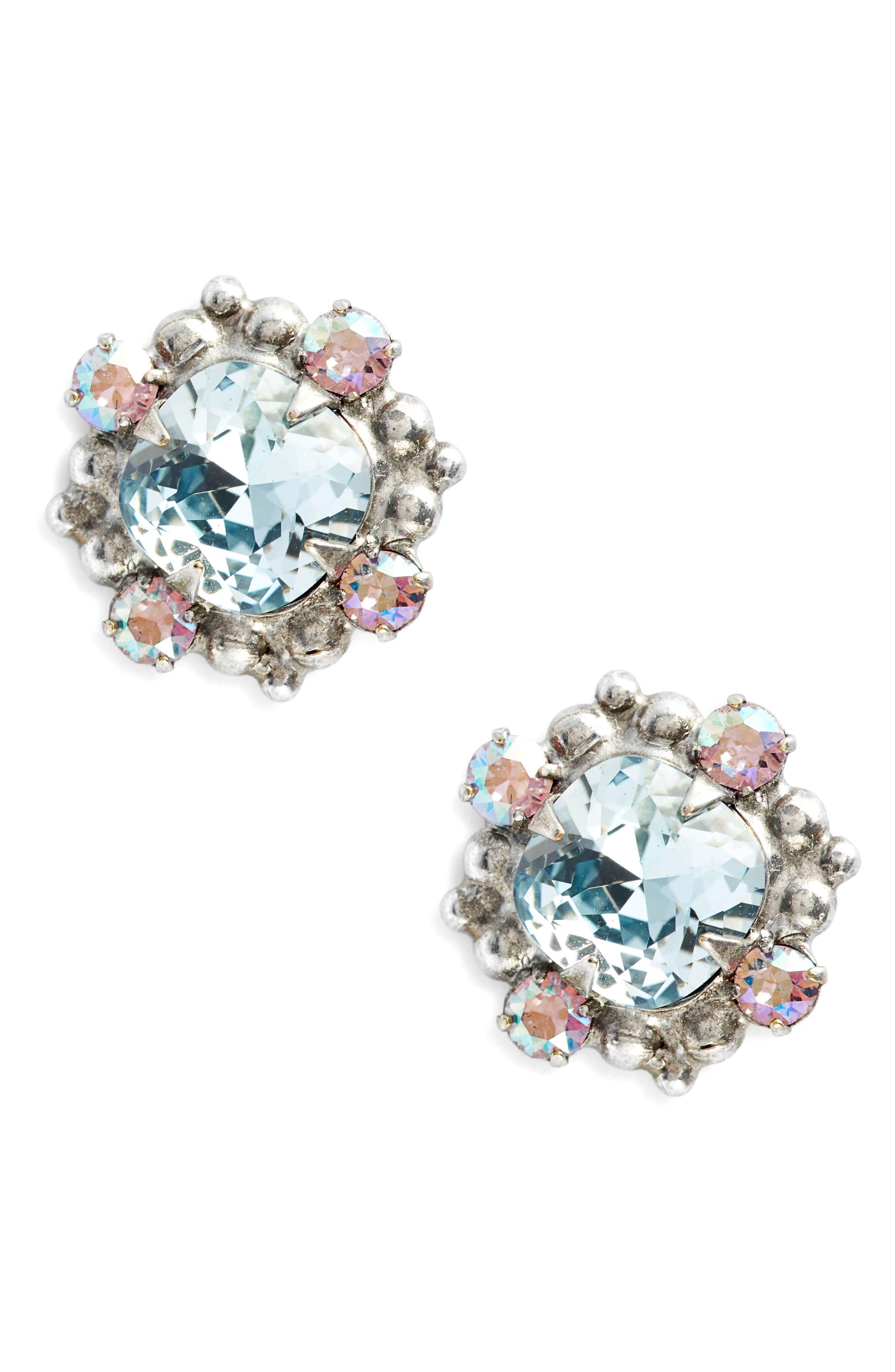 Hibiscus Crystal Earrings,                         Main,                         color, Blue
