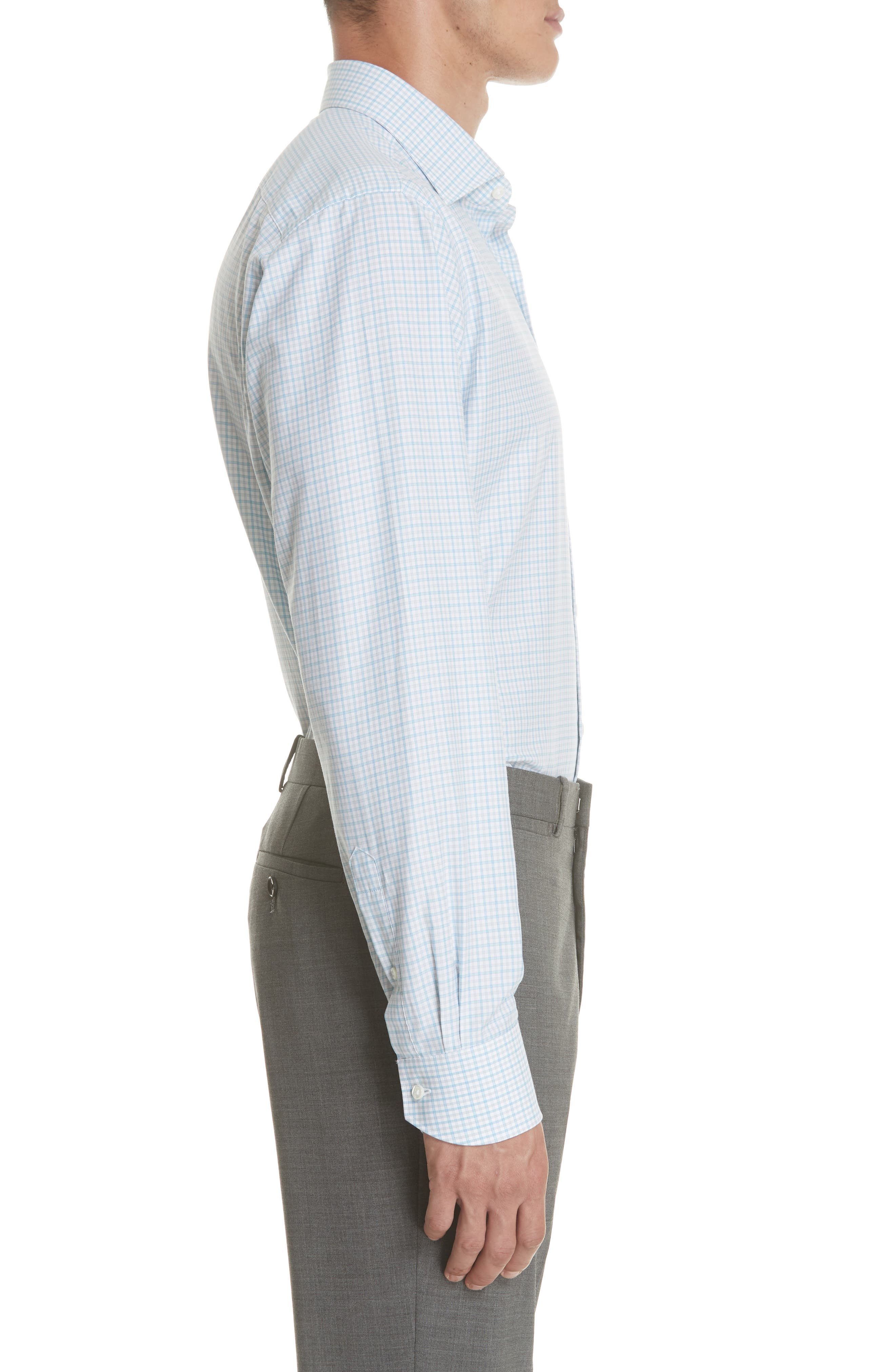 Regular Fit Check Dress Shirt,                             Alternate thumbnail 4, color,                             Turquoise