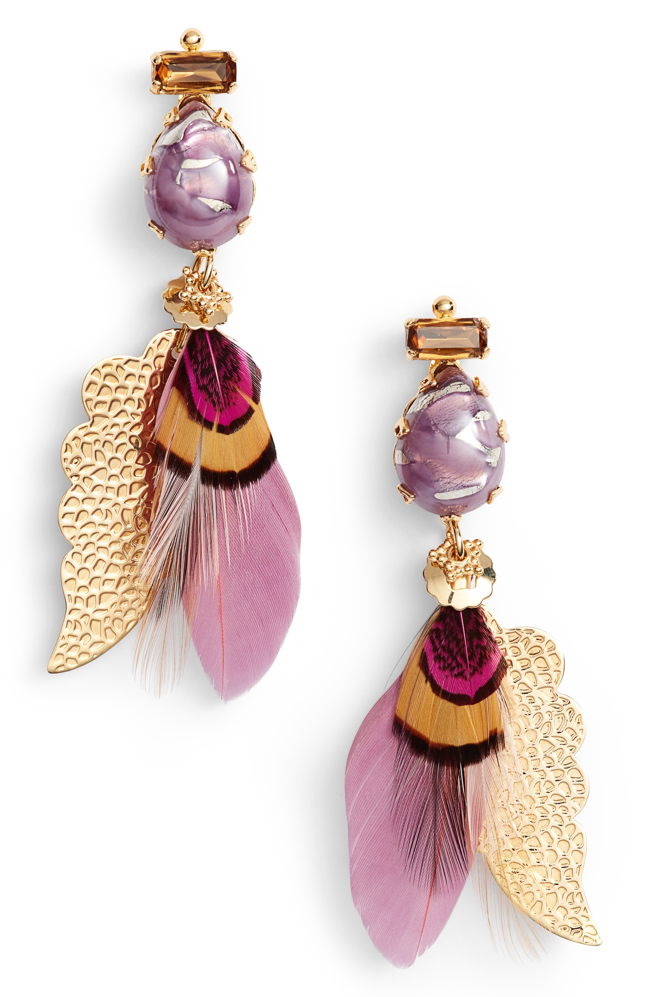 Irene Feather Drop Earrings,                             Main thumbnail 1, color,                             Pink/ Tige