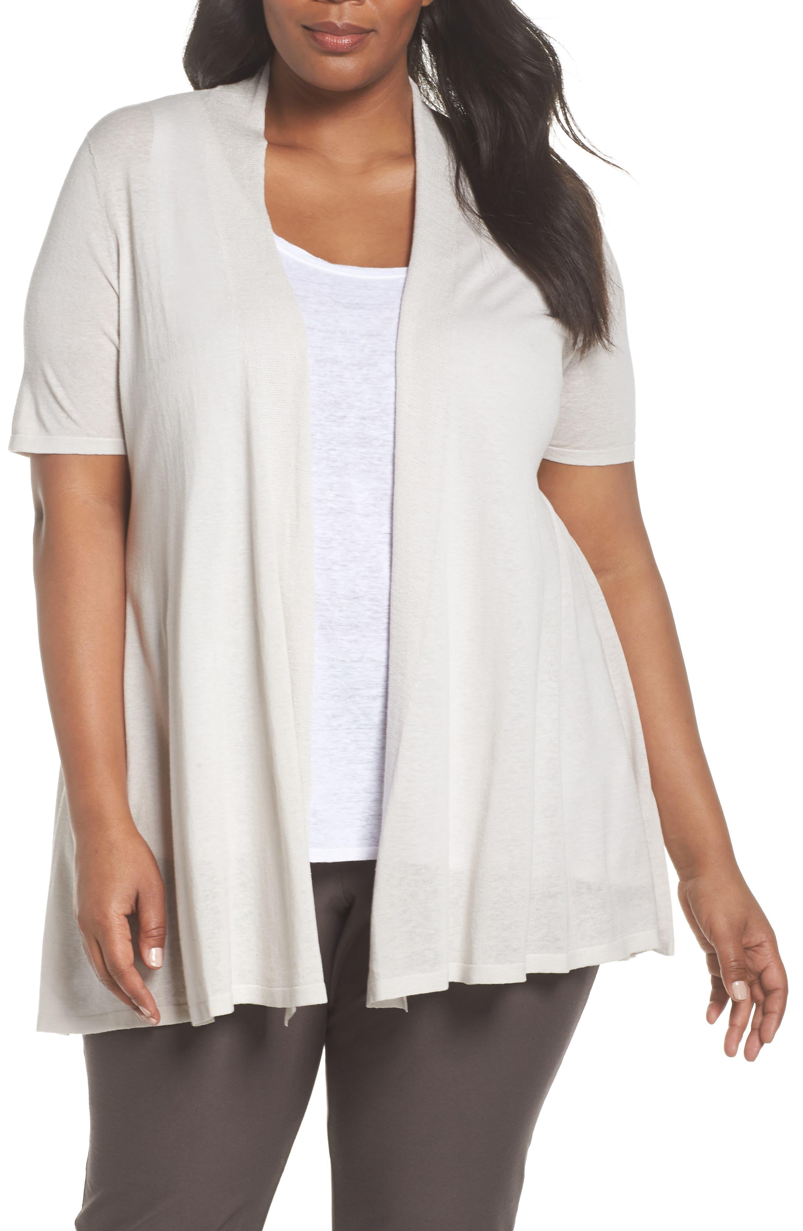 Silk & Organic Linen Long Cardigan,                         Main,                         color, Bone