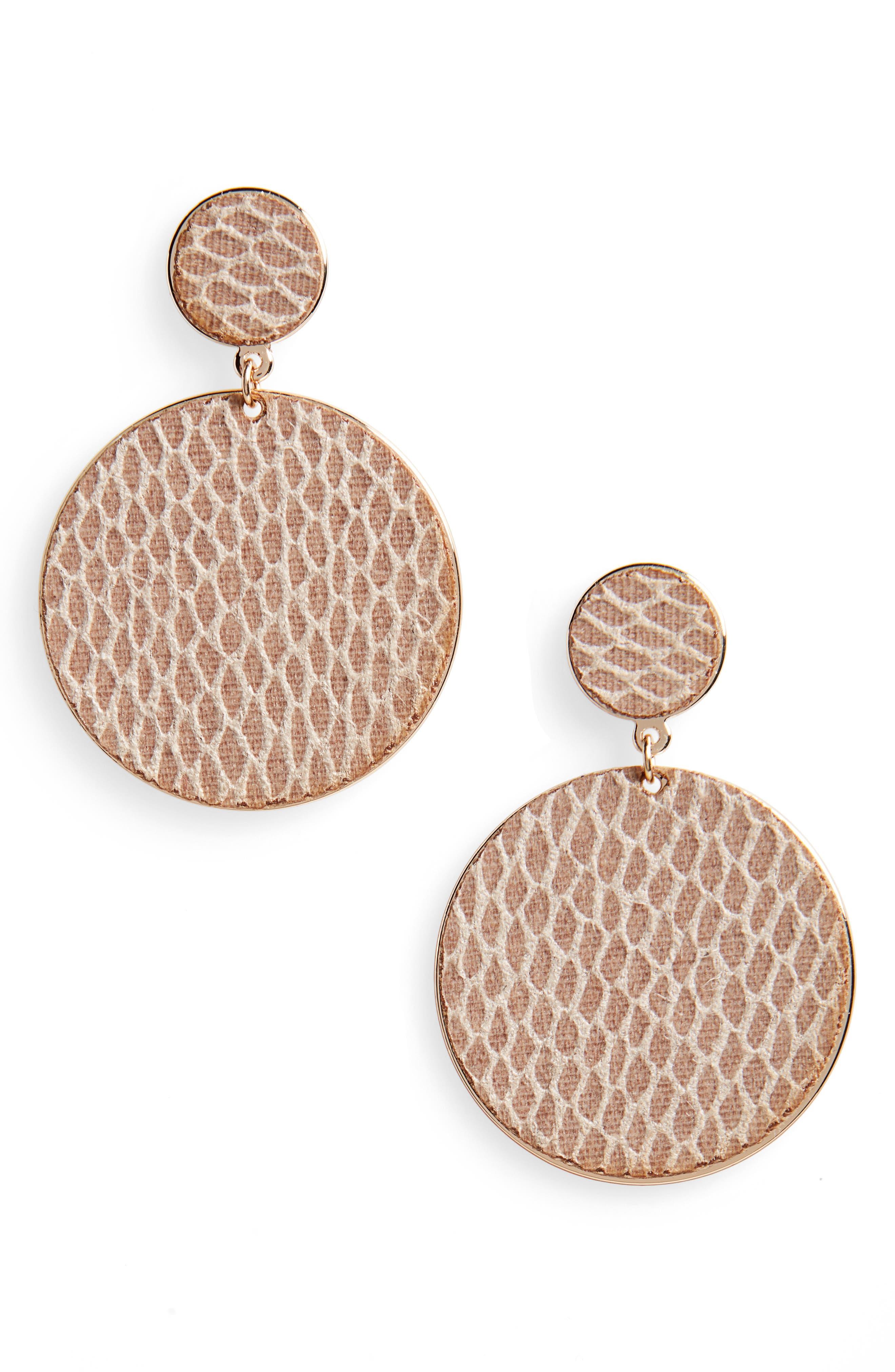 Mesh Texture Graduated Disc Earrings,                             Main thumbnail 1, color,                             Gold/ Natural