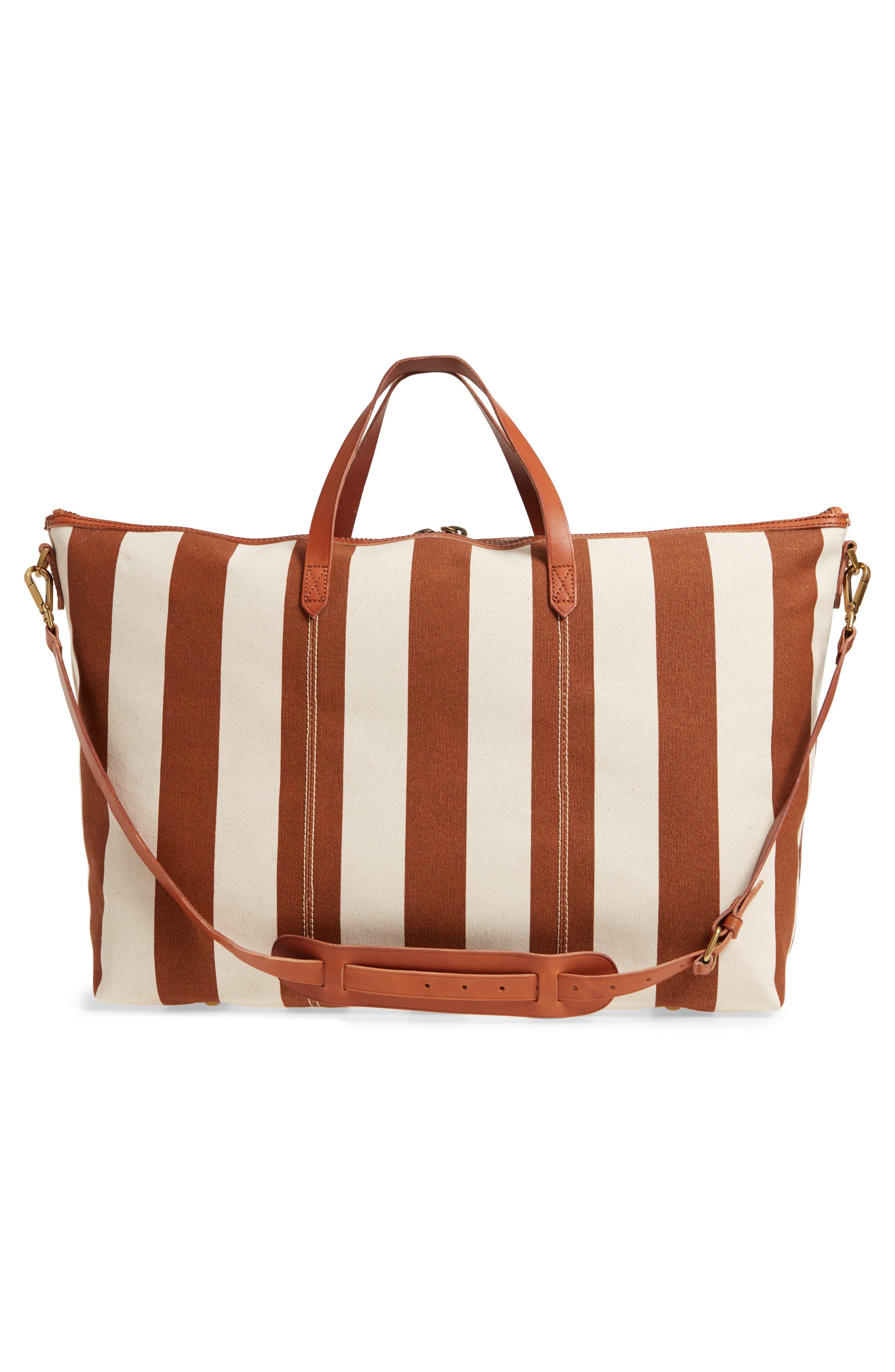 Transport Canvas Weekend Bag,                             Alternate thumbnail 3, color,                             Burnt Orange Stripe