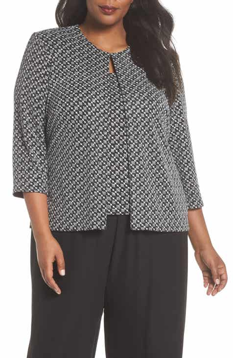 d99569ef1dda3 Alex Evenings Metallic Geo Print Top   Jacket (Plus Size)