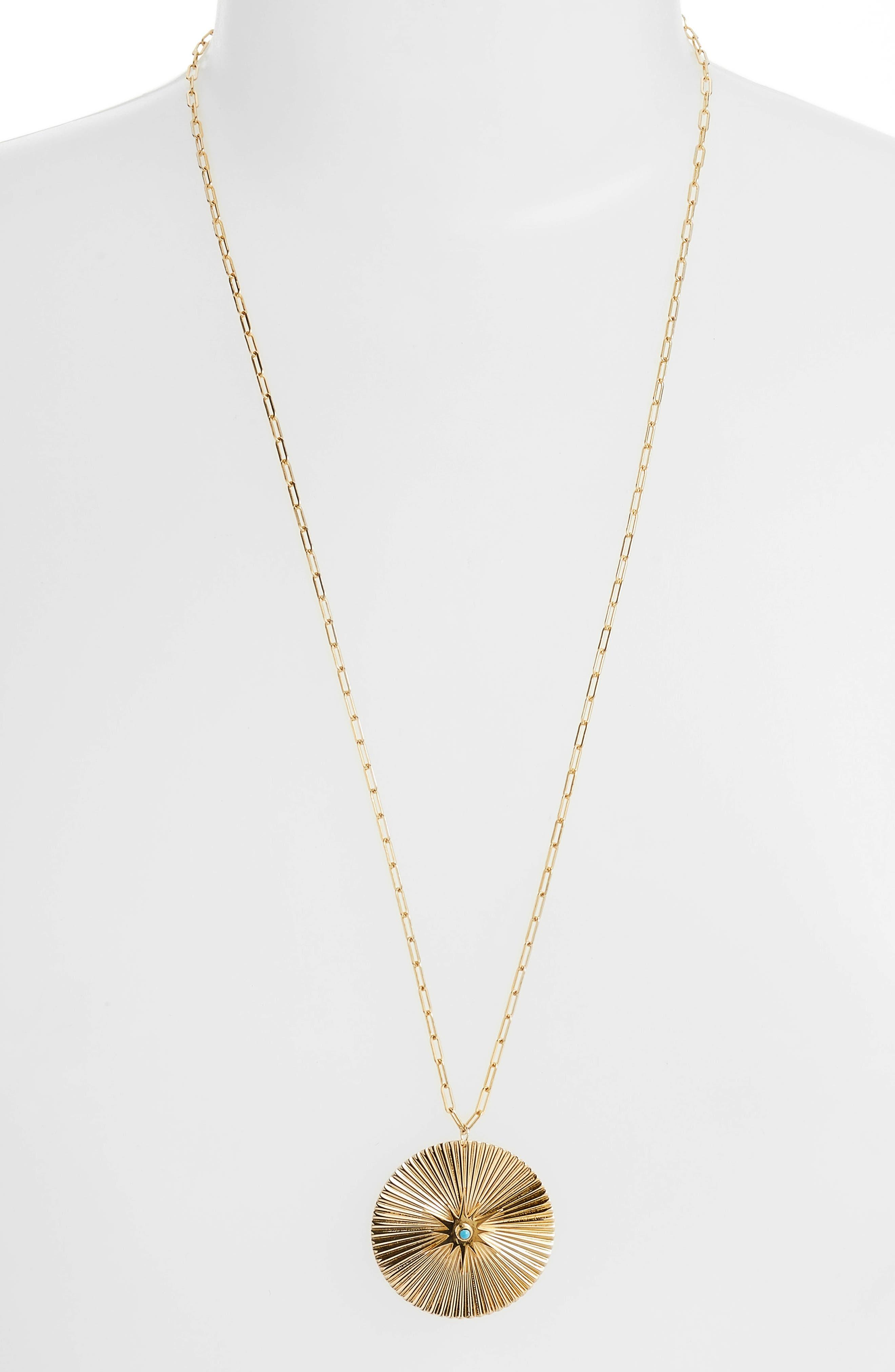 Iris Durango Turquoise Pendant Necklace,                             Main thumbnail 1, color,                             Yellow Vermeil