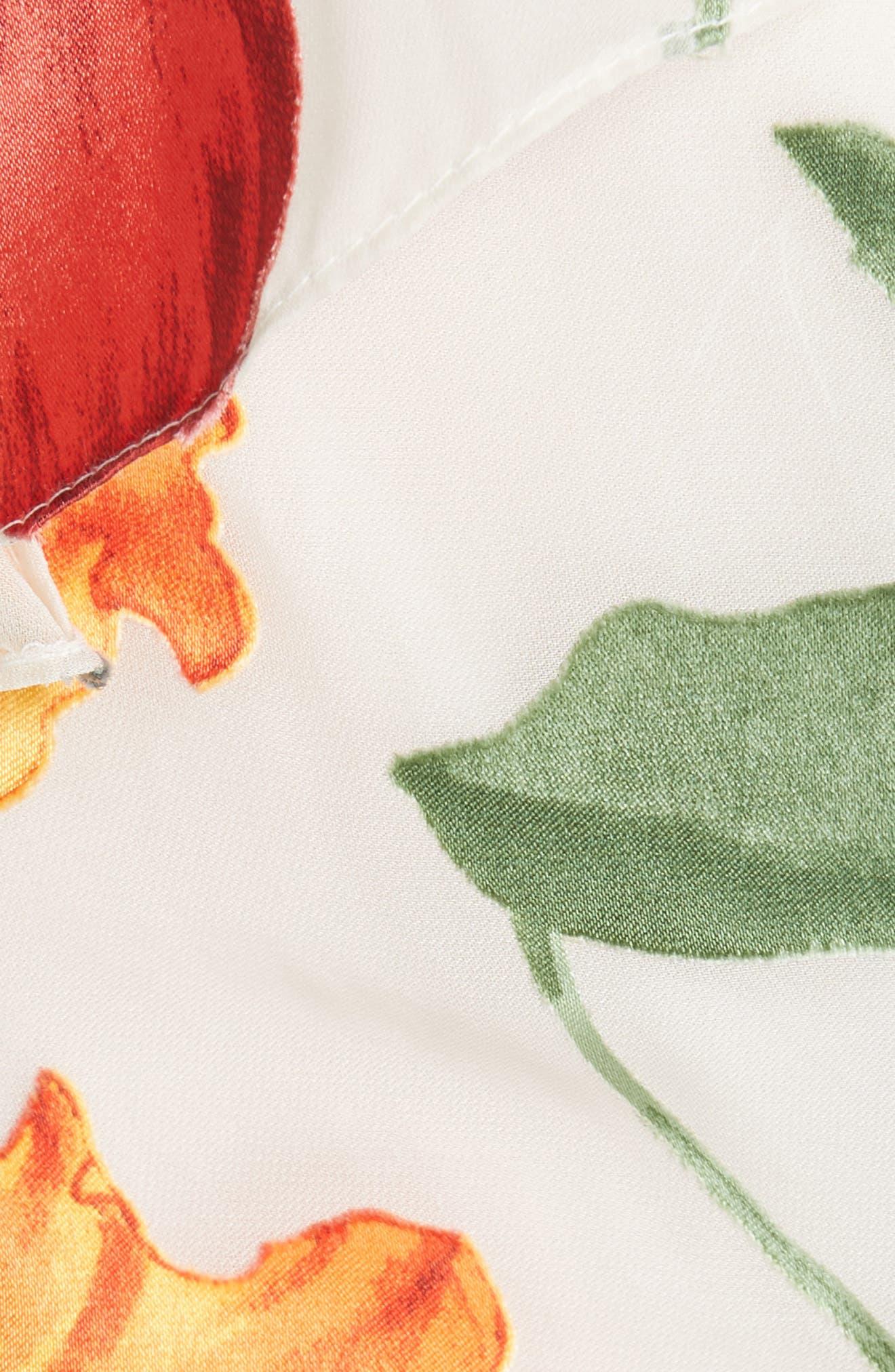 Nicole Ruffle Wrap Top,                             Alternate thumbnail 5, color,                             Greenwich Garden Soft Cream