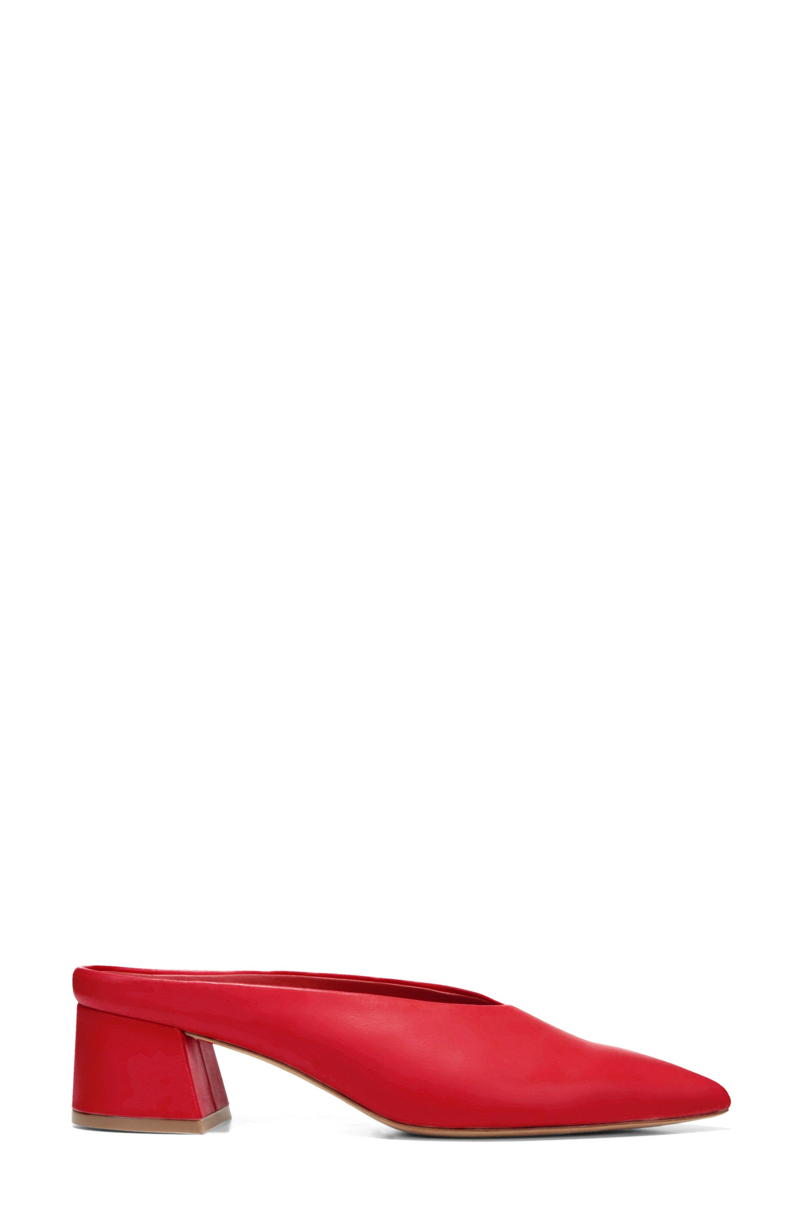 Ralston Pointy Toe Mule,                             Alternate thumbnail 3, color,                             Red Leather